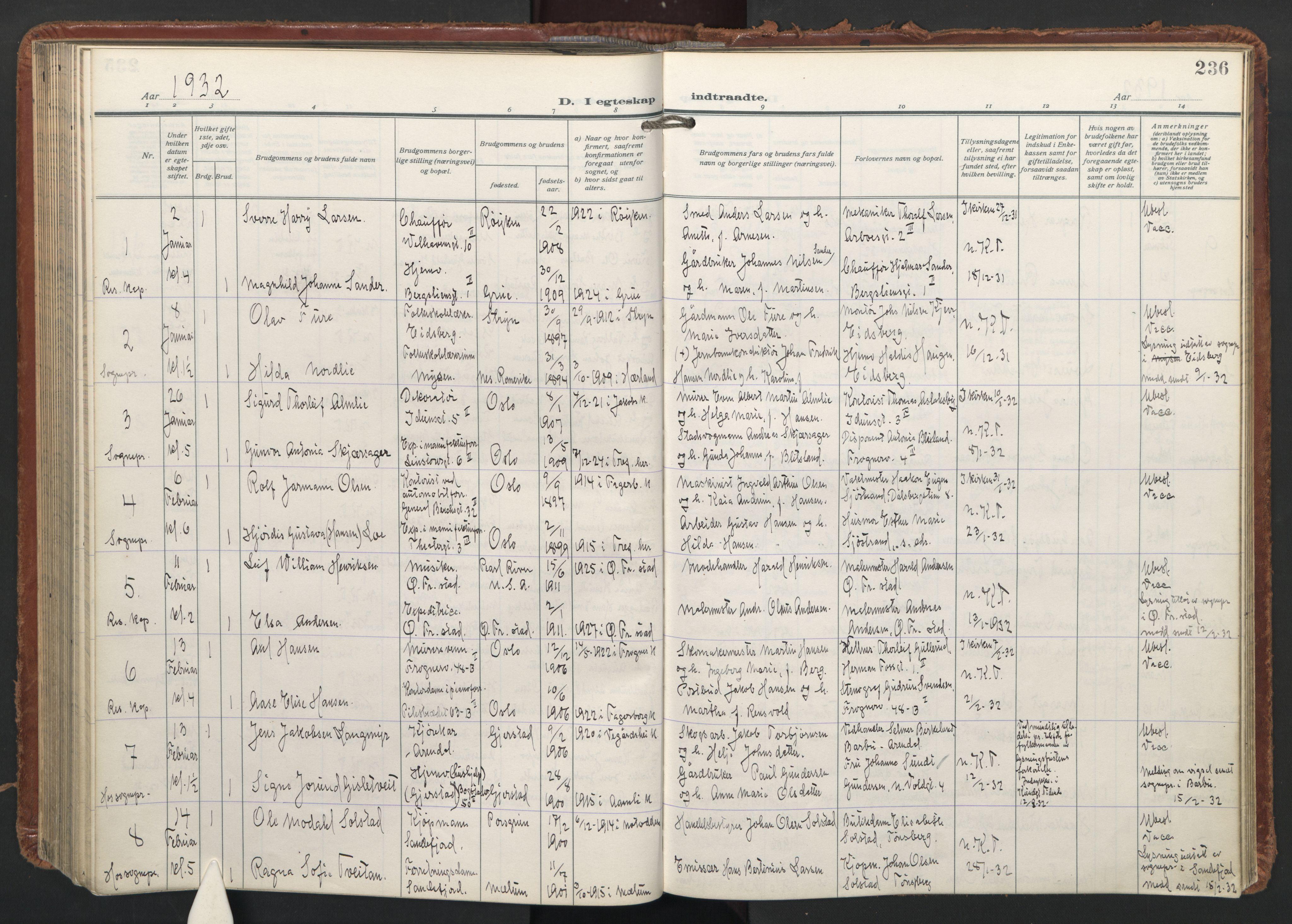 SAO, Trefoldighet prestekontor Kirkebøker, F/Fc/L0009: Ministerialbok nr. III 9, 1922-1936, s. 236