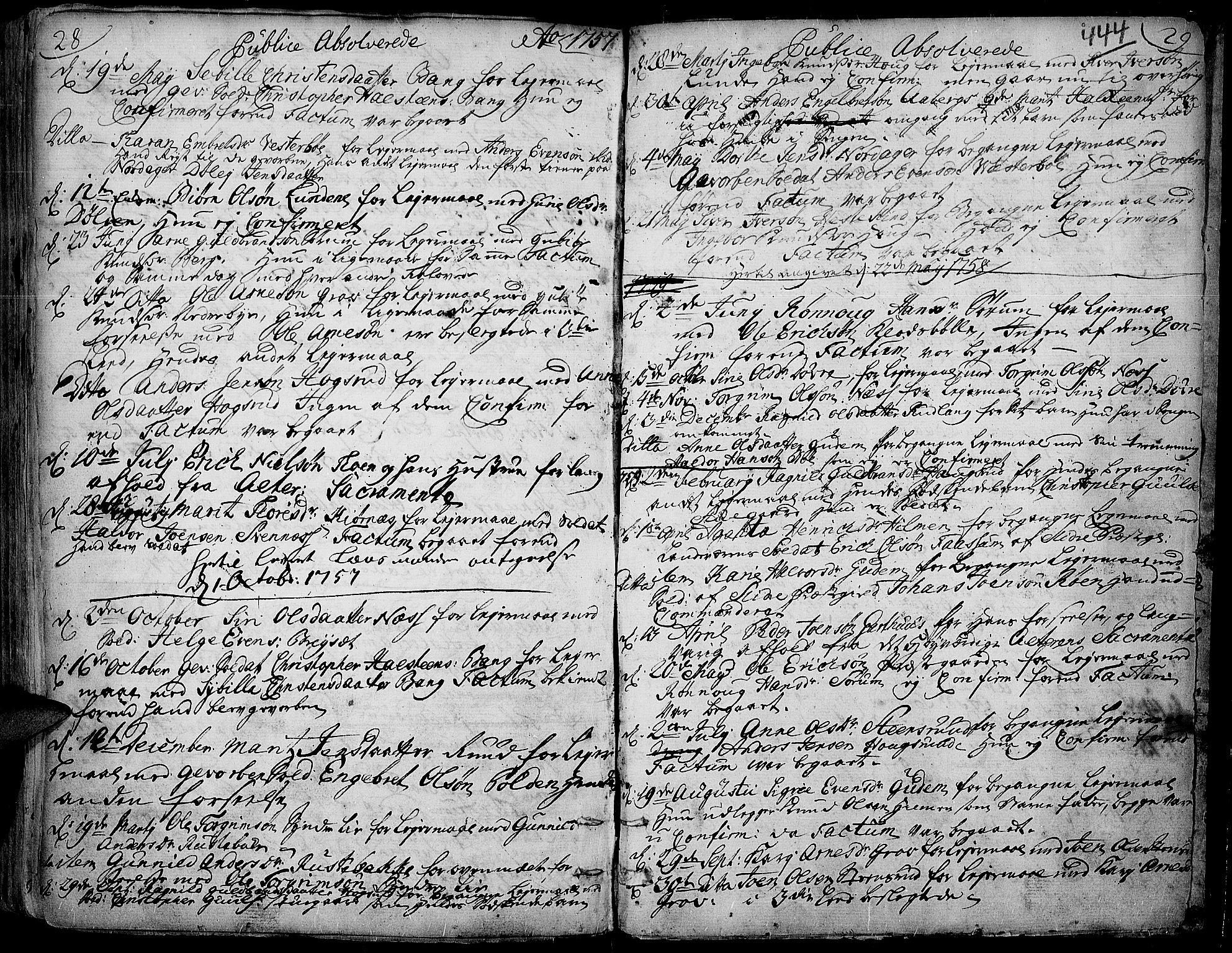 SAH, Aurdal prestekontor, Ministerialbok nr. 4, 1730-1762, s. 28-29