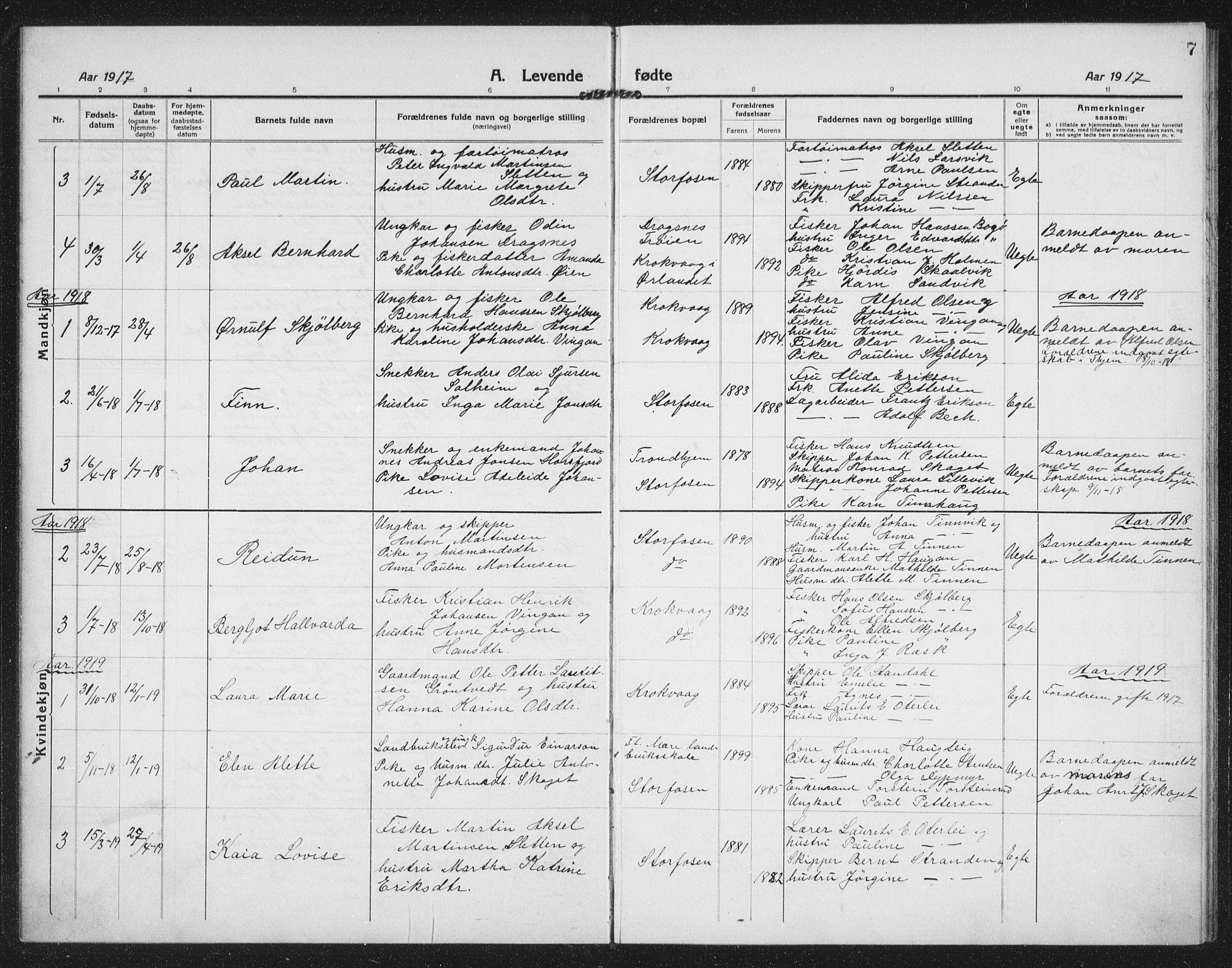 SAT, Ministerialprotokoller, klokkerbøker og fødselsregistre - Sør-Trøndelag, 659/L0750: Klokkerbok nr. 659C07, 1914-1940, s. 7