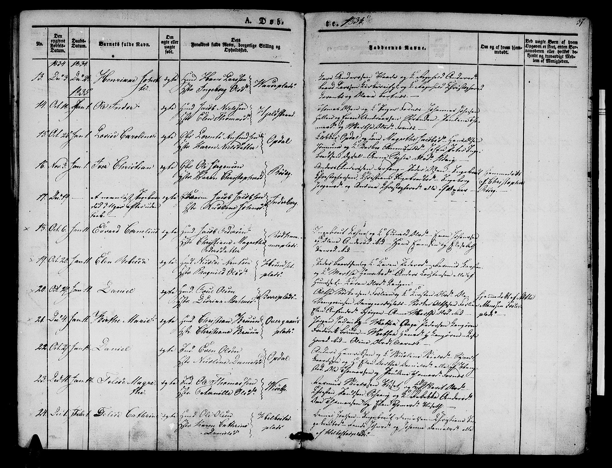 SAT, Ministerialprotokoller, klokkerbøker og fødselsregistre - Nord-Trøndelag, 741/L0391: Ministerialbok nr. 741A05, 1831-1836, s. 37