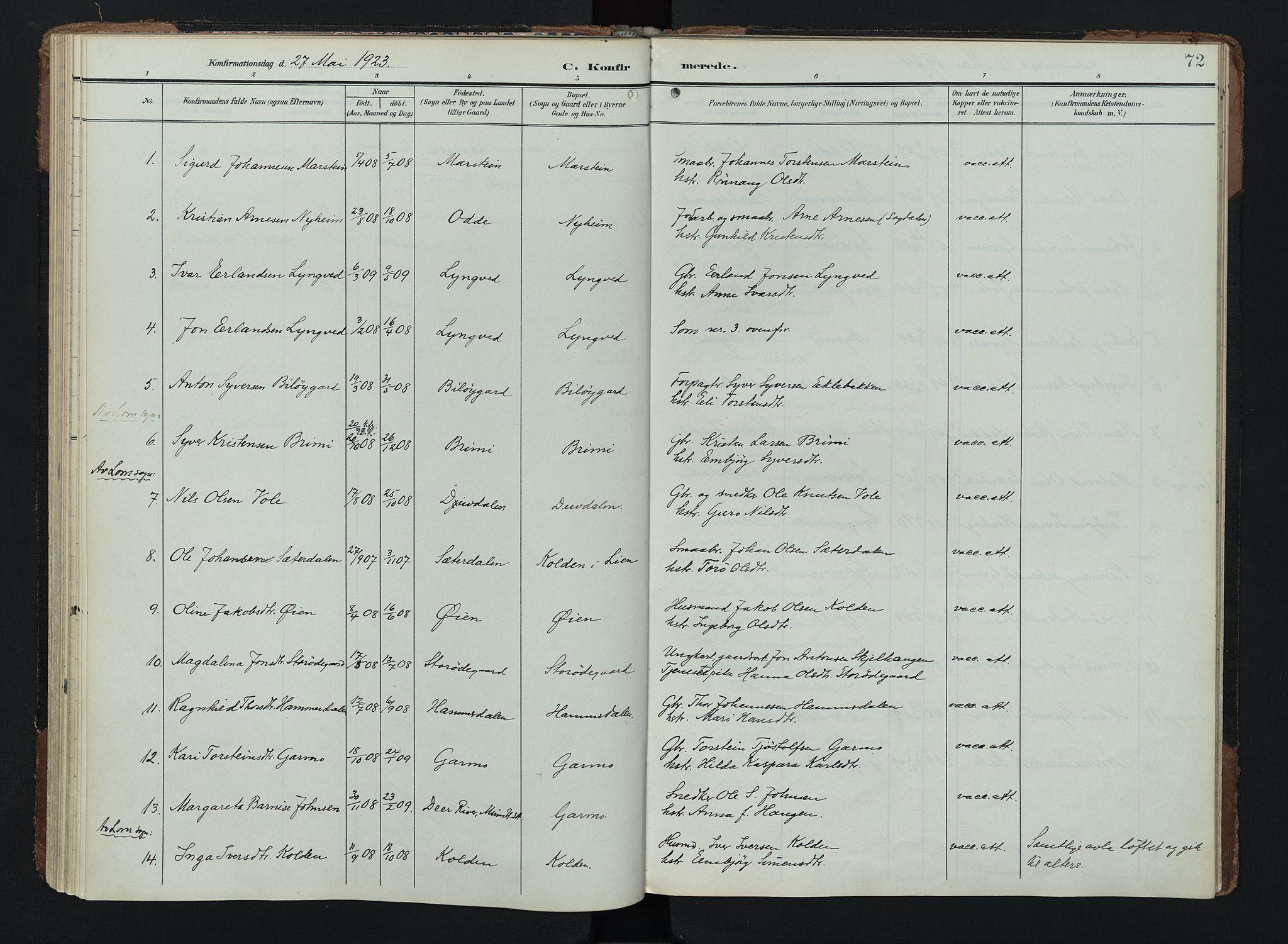 SAH, Lom prestekontor, K/L0011: Ministerialbok nr. 11, 1904-1928, s. 72