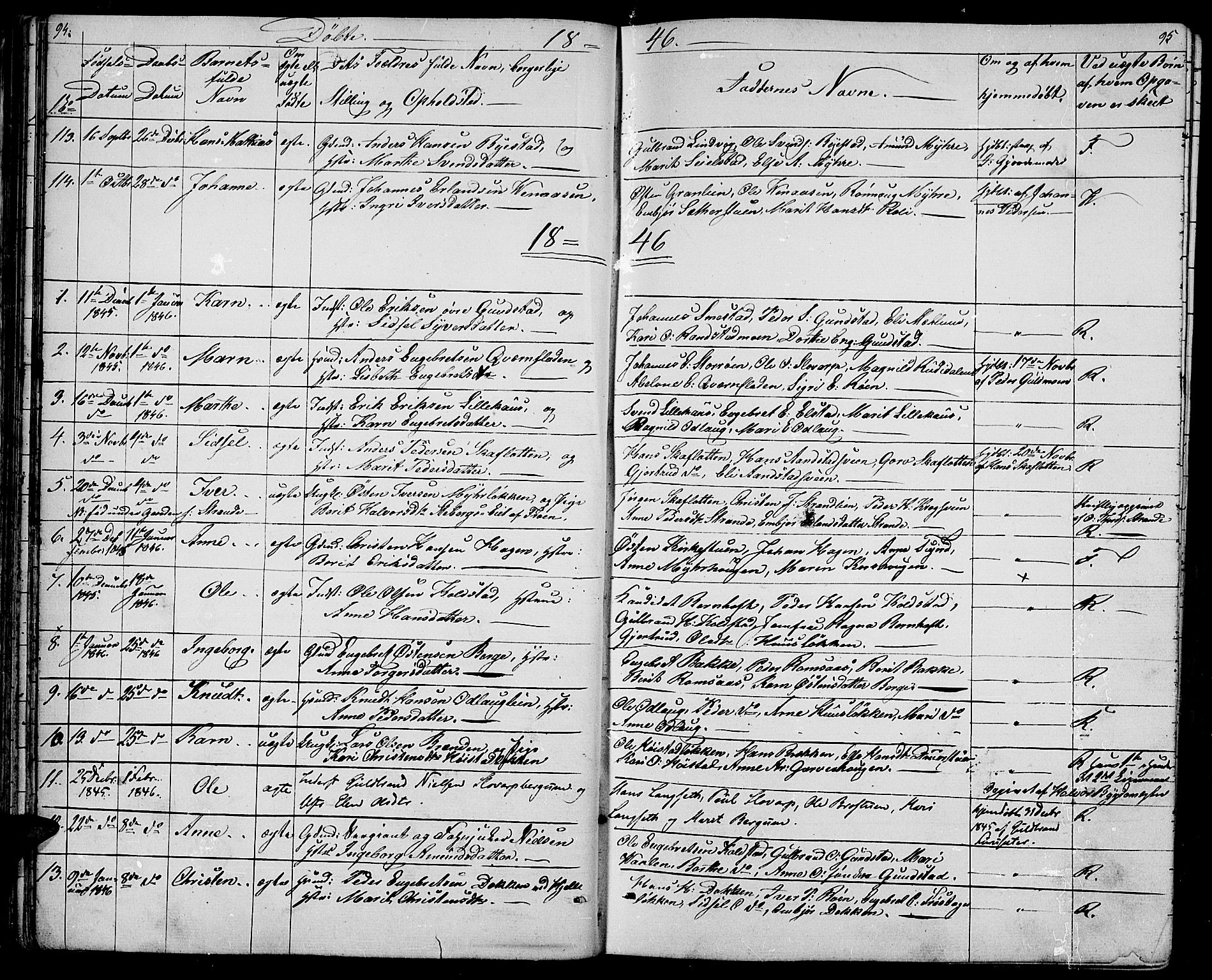 SAH, Ringebu prestekontor, Klokkerbok nr. 2, 1839-1853, s. 94-95