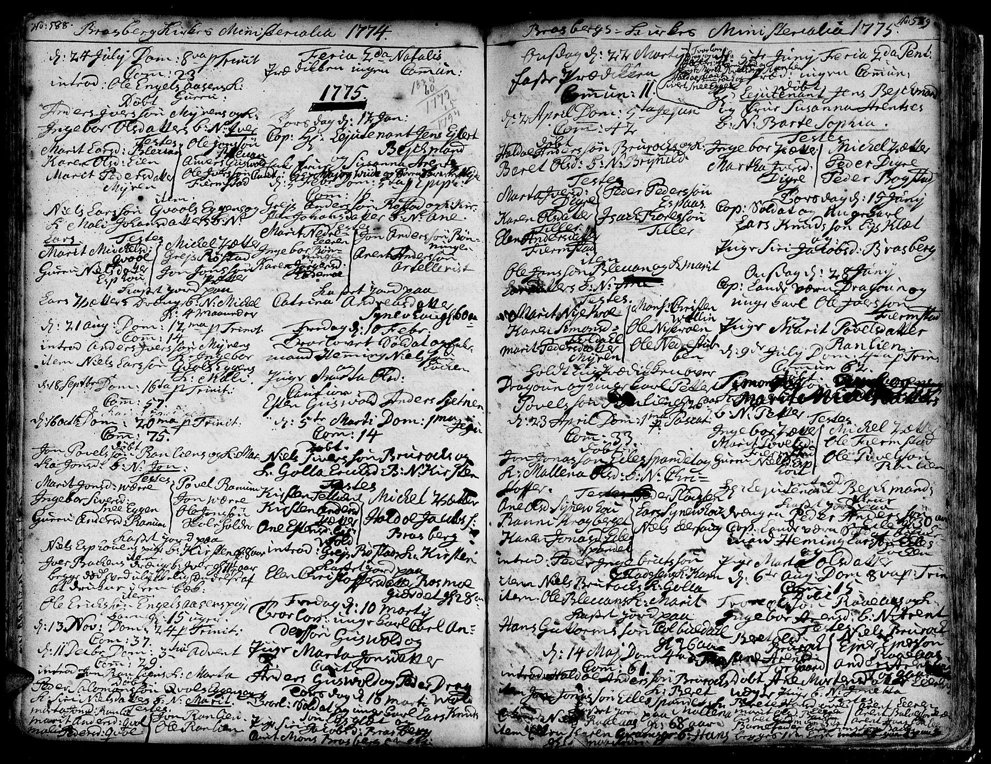 SAT, Ministerialprotokoller, klokkerbøker og fødselsregistre - Sør-Trøndelag, 606/L0278: Ministerialbok nr. 606A01 /4, 1727-1780, s. 588-589