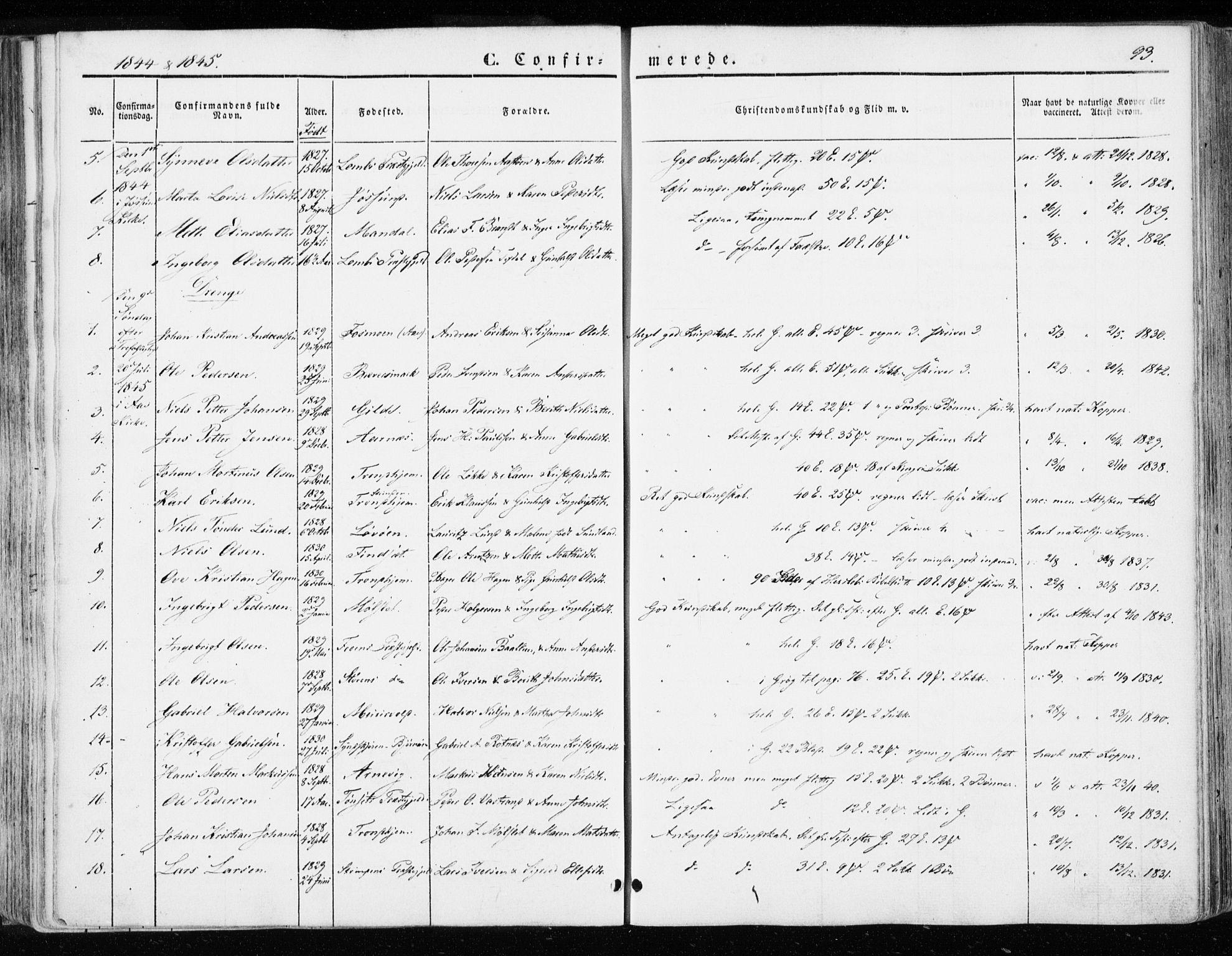 SAT, Ministerialprotokoller, klokkerbøker og fødselsregistre - Sør-Trøndelag, 655/L0677: Ministerialbok nr. 655A06, 1847-1860, s. 93