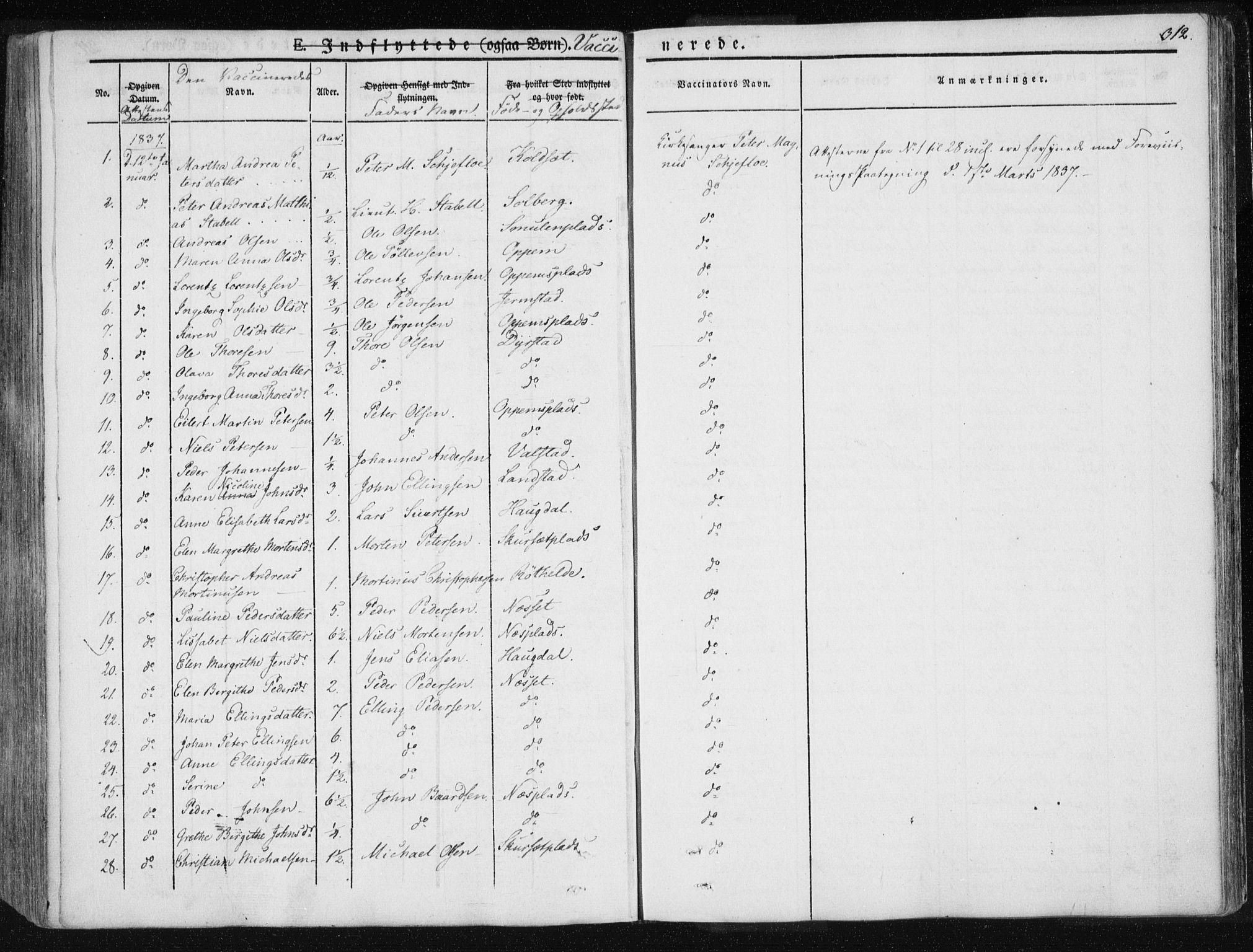 SAT, Ministerialprotokoller, klokkerbøker og fødselsregistre - Nord-Trøndelag, 735/L0339: Ministerialbok nr. 735A06 /1, 1836-1848, s. 312