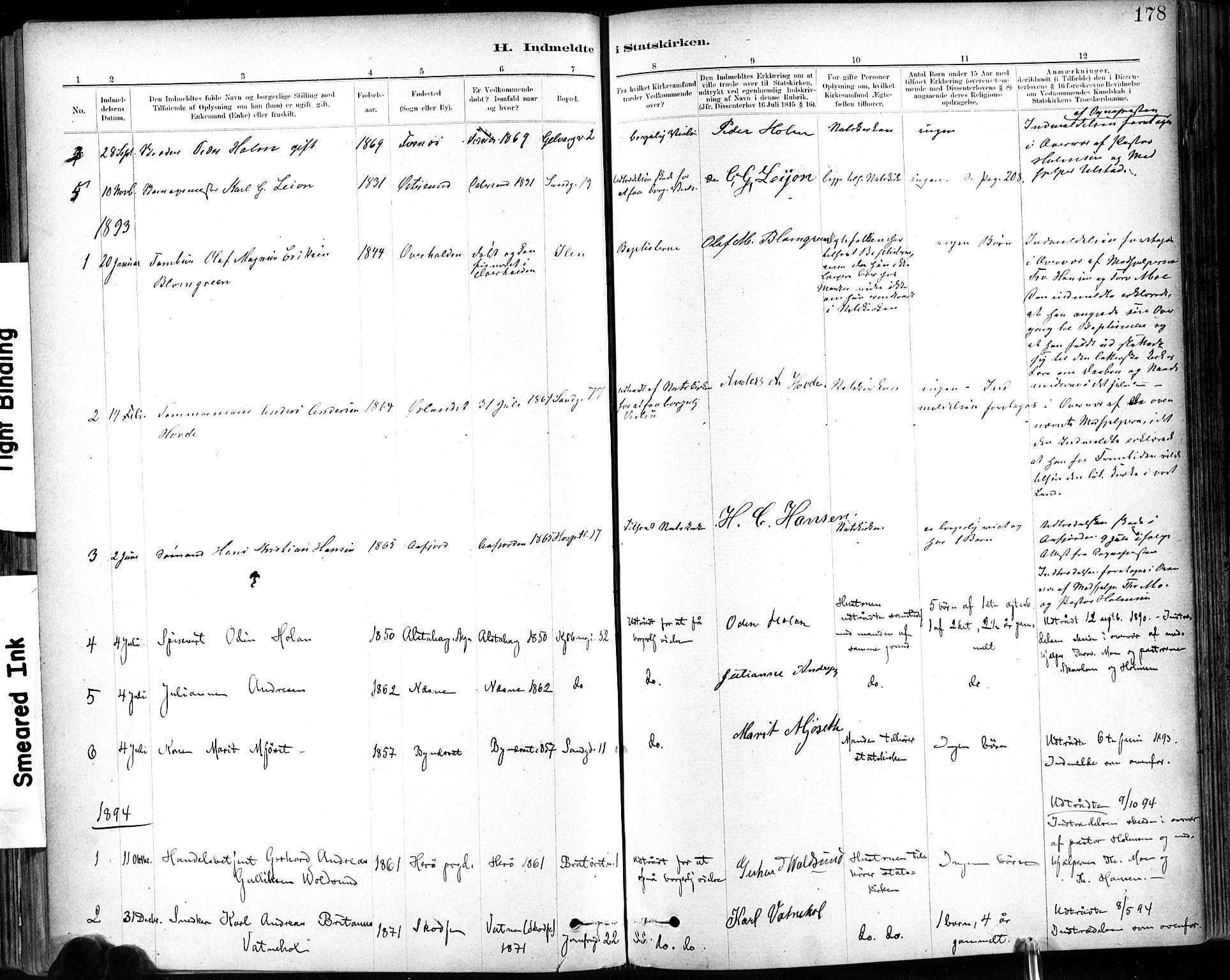 SAT, Ministerialprotokoller, klokkerbøker og fødselsregistre - Sør-Trøndelag, 602/L0120: Ministerialbok nr. 602A18, 1880-1913, s. 178