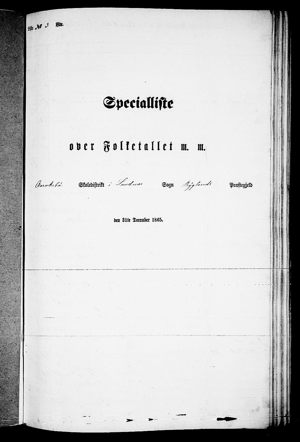 RA, Folketelling 1865 for 0938P Bygland prestegjeld, 1865, s. 33