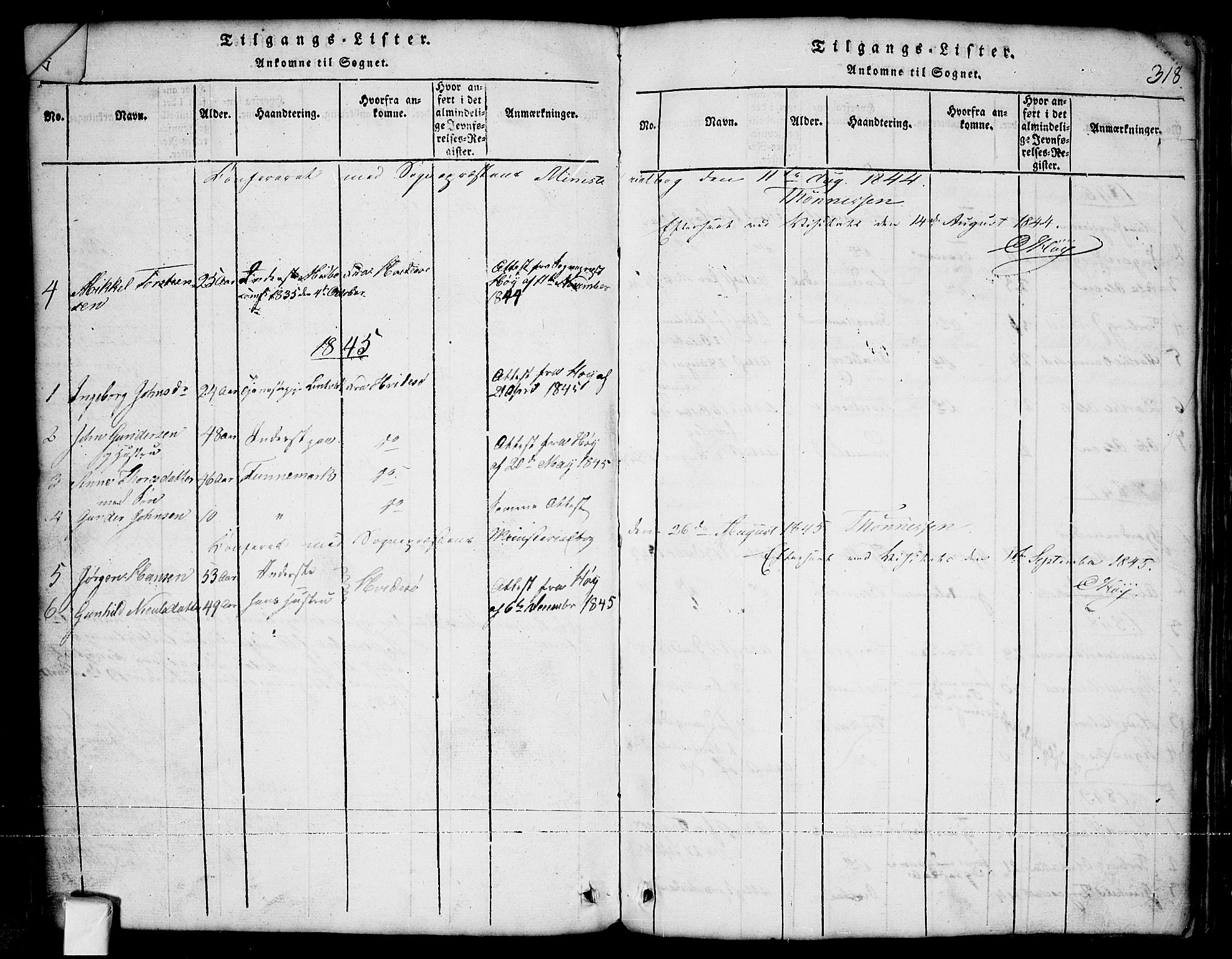 SAKO, Nissedal kirkebøker, G/Ga/L0001: Klokkerbok nr. I 1, 1814-1860, s. 318