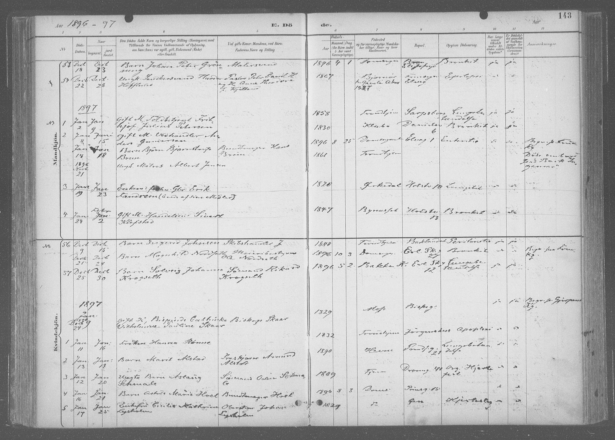 SAT, Ministerialprotokoller, klokkerbøker og fødselsregistre - Sør-Trøndelag, 601/L0064: Ministerialbok nr. 601A31, 1891-1911, s. 143