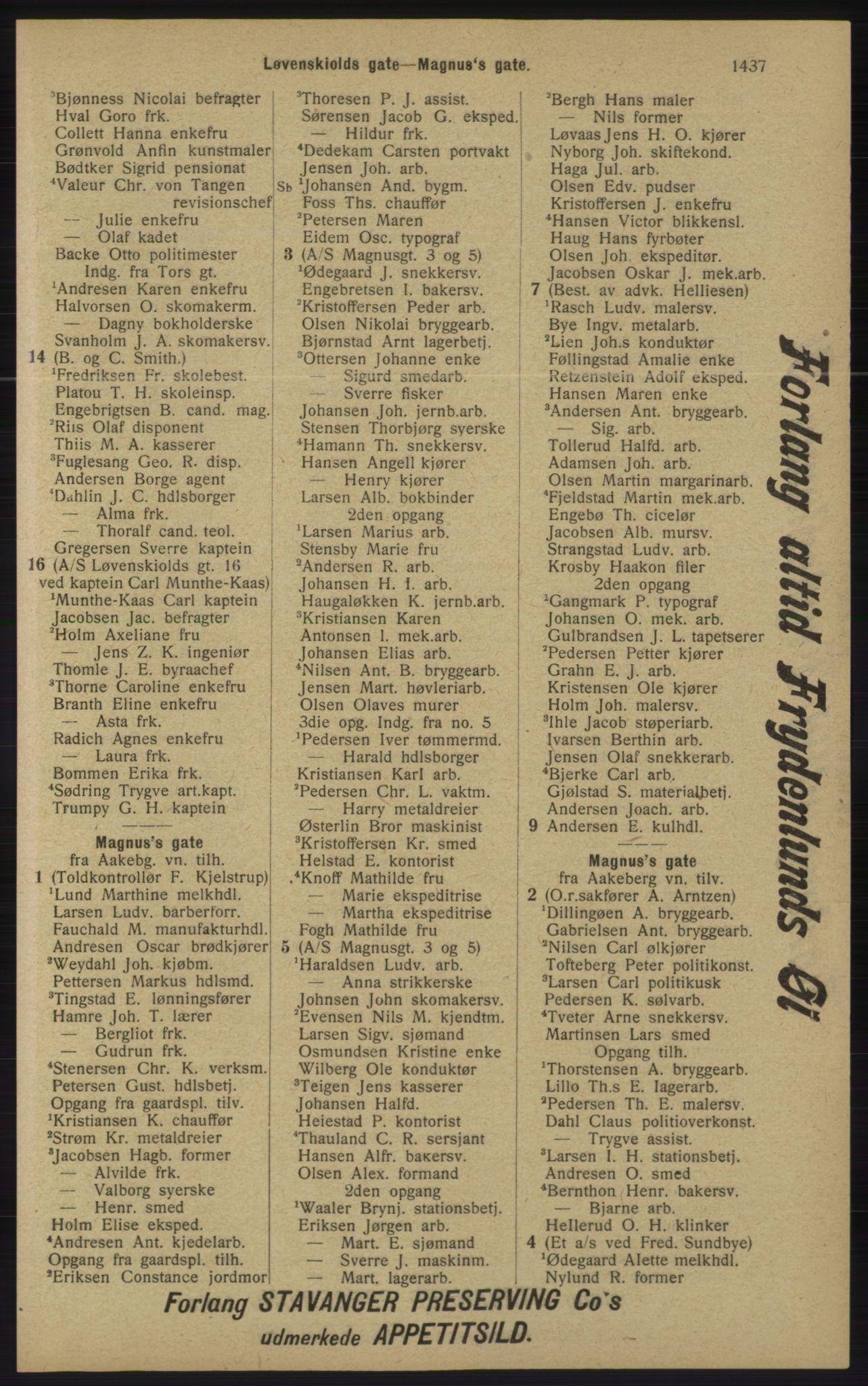 RA, Kristiania adressebok (publikasjon)*, 1913, s. 1437