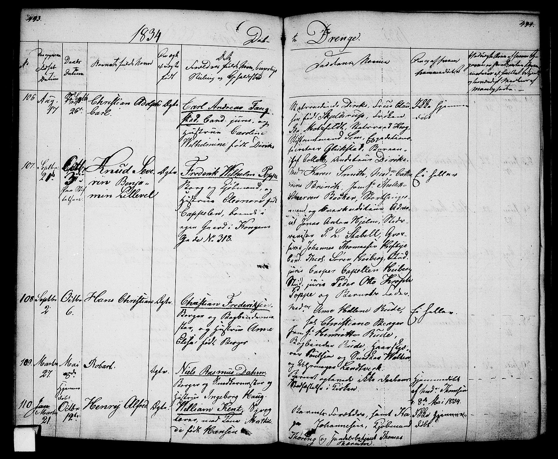 SAO, Oslo domkirke Kirkebøker, F/Fa/L0011: Ministerialbok nr. 11, 1830-1836, s. 493-494