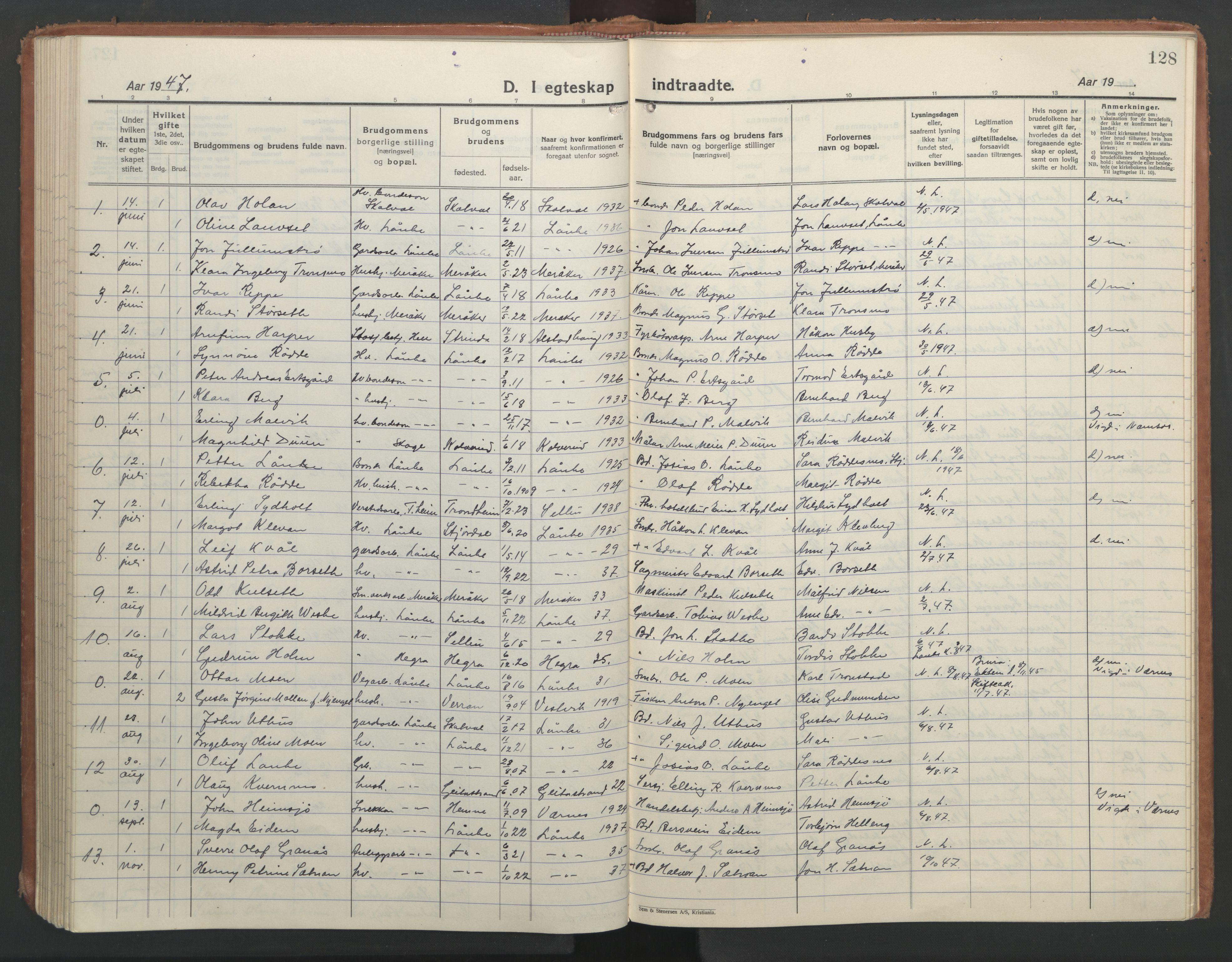 SAT, Ministerialprotokoller, klokkerbøker og fødselsregistre - Nord-Trøndelag, 710/L0097: Klokkerbok nr. 710C02, 1925-1955, s. 128