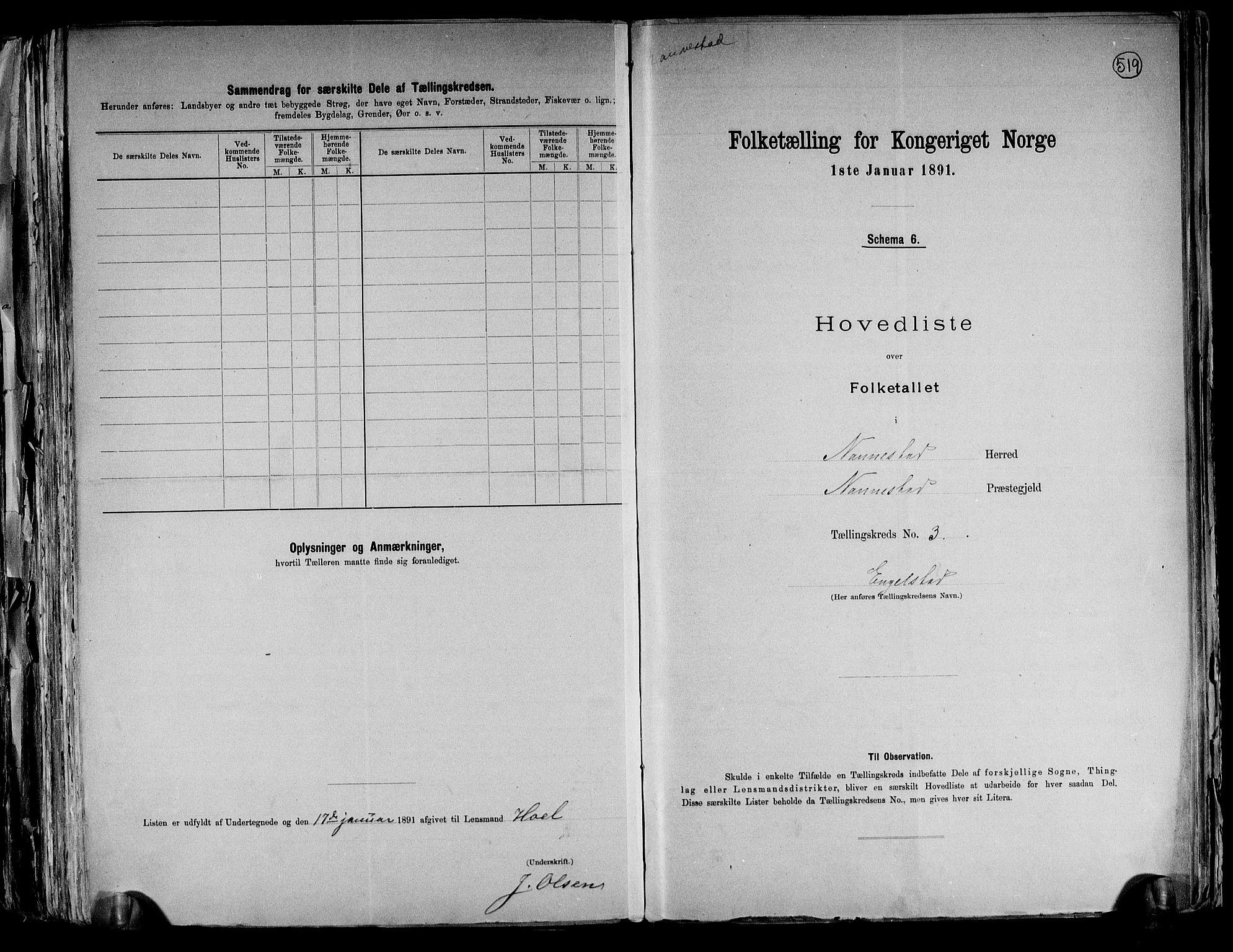 RA, Folketelling 1891 for 0238 Nannestad herred, 1891, s. 12