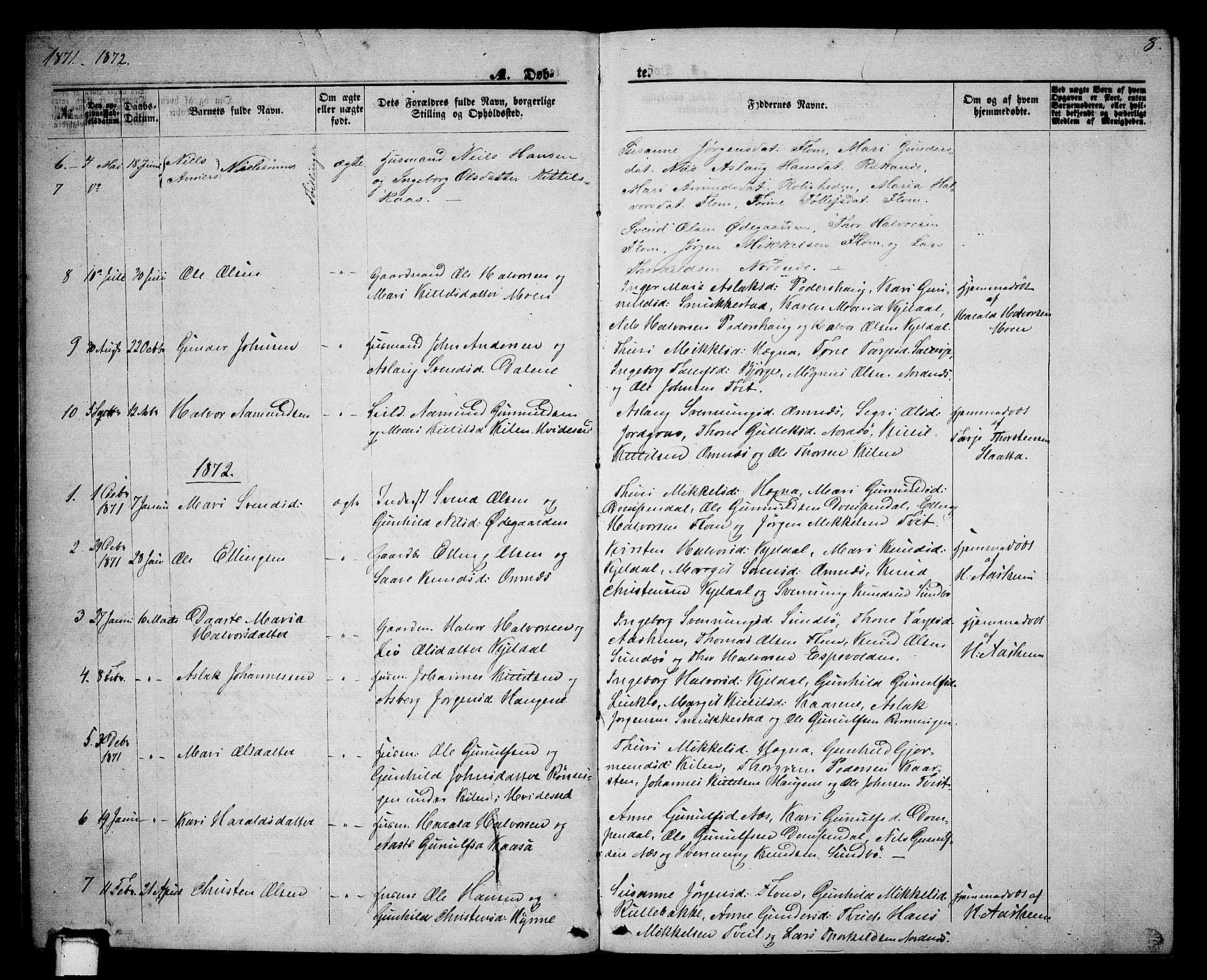 SAKO, Lunde kirkebøker, G/Gb/L0001: Klokkerbok nr. II 1, 1866-1887, s. 8