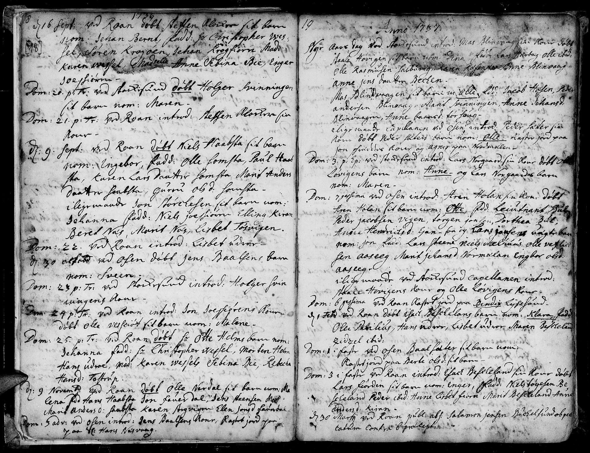 SAT, Ministerialprotokoller, klokkerbøker og fødselsregistre - Sør-Trøndelag, 657/L0700: Ministerialbok nr. 657A01, 1732-1801, s. 18-19