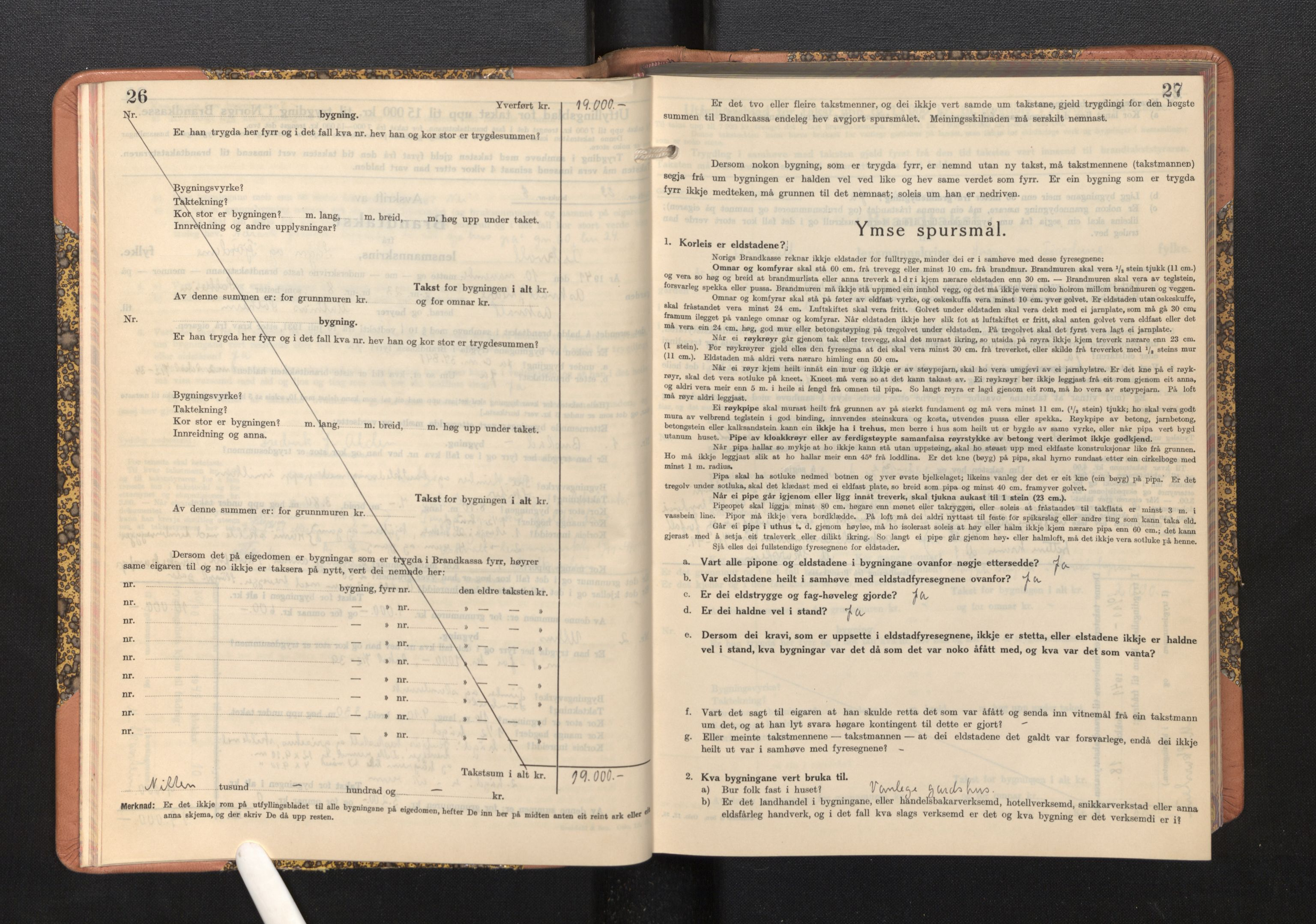 SAB, Lensmannen i Askvoll, 0012/L0005: Branntakstprotokoll, skjematakst, 1940-1949, s. 26-27