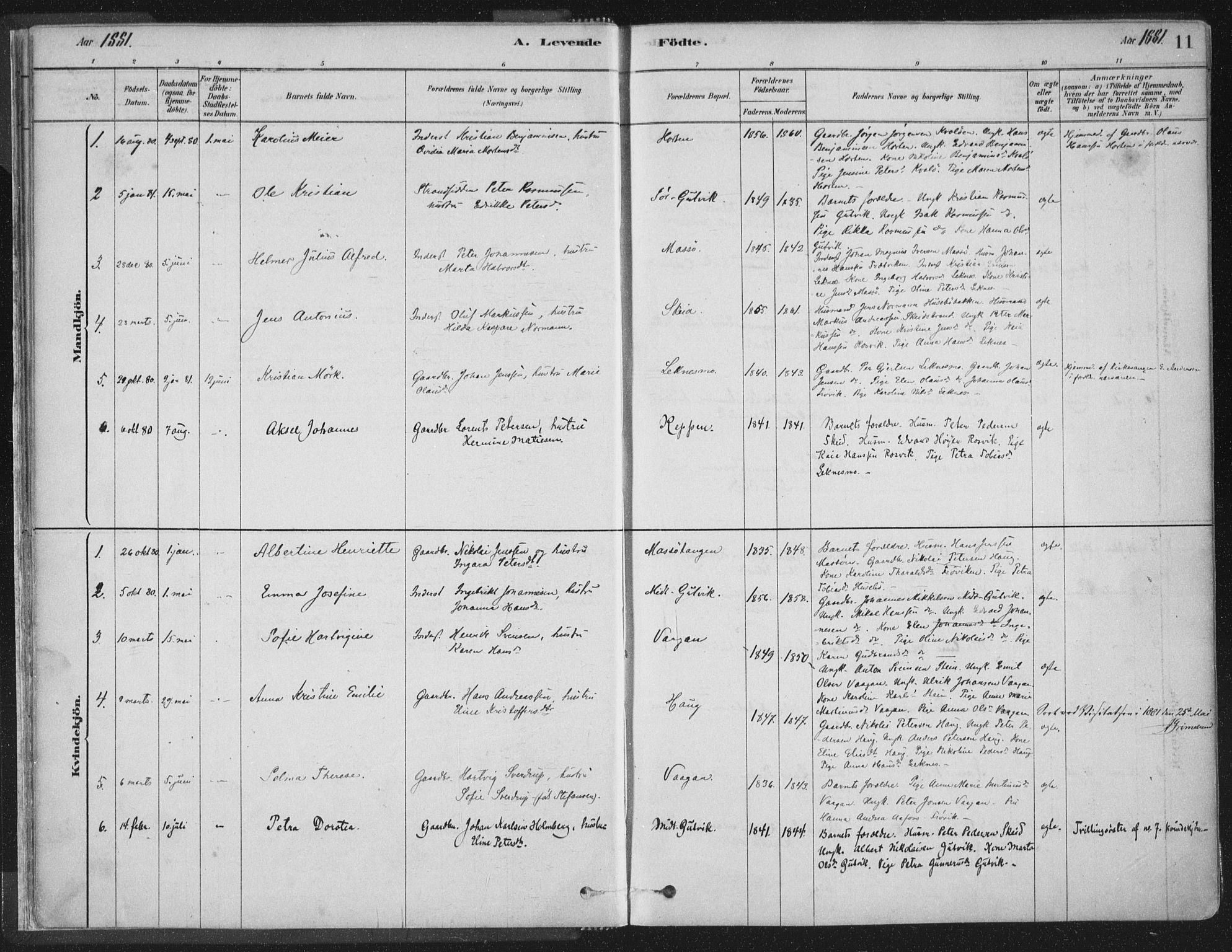 SAT, Ministerialprotokoller, klokkerbøker og fødselsregistre - Nord-Trøndelag, 788/L0697: Ministerialbok nr. 788A04, 1878-1902, s. 11