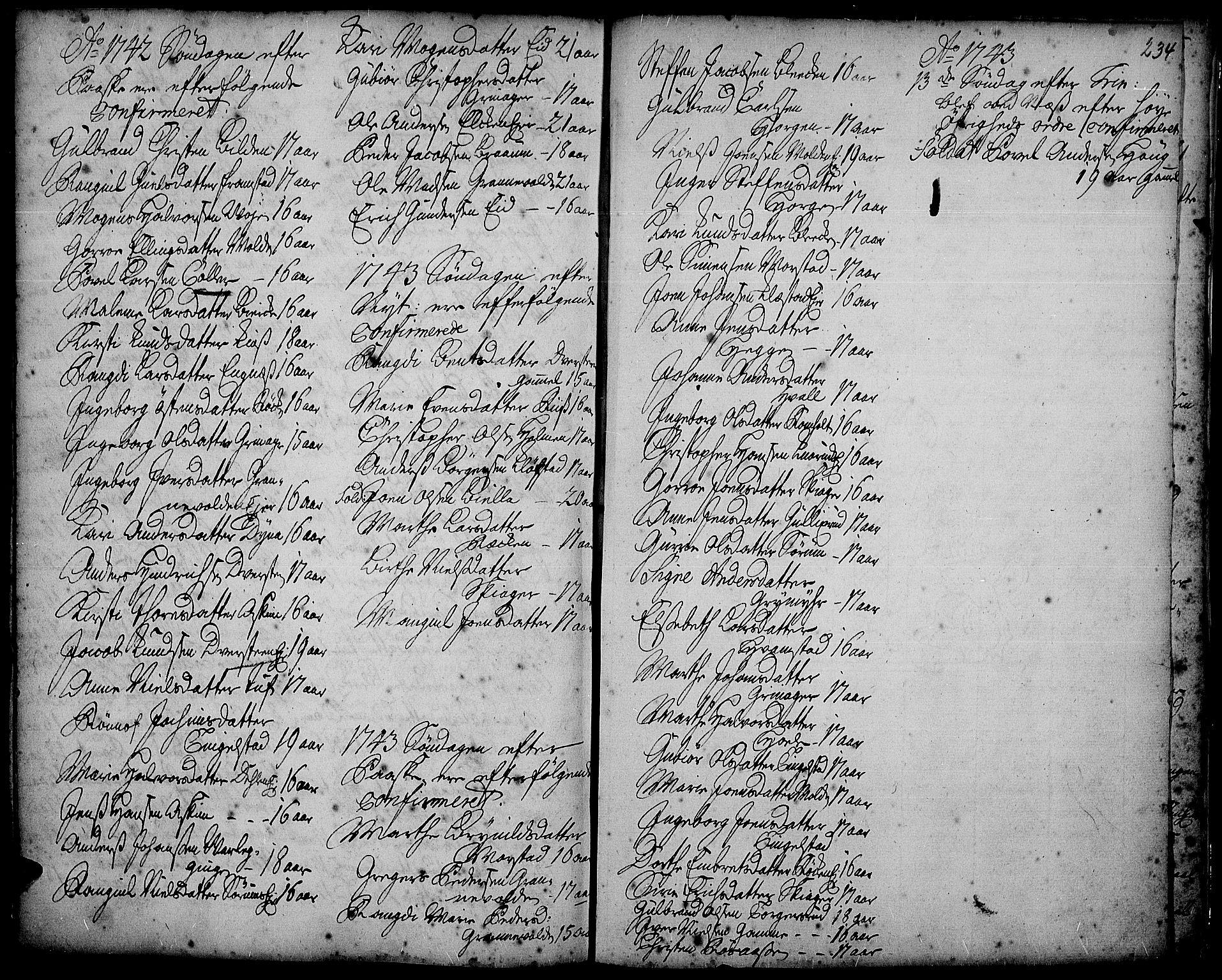 SAH, Gran prestekontor, Ministerialbok nr. 2, 1732-1744, s. 234