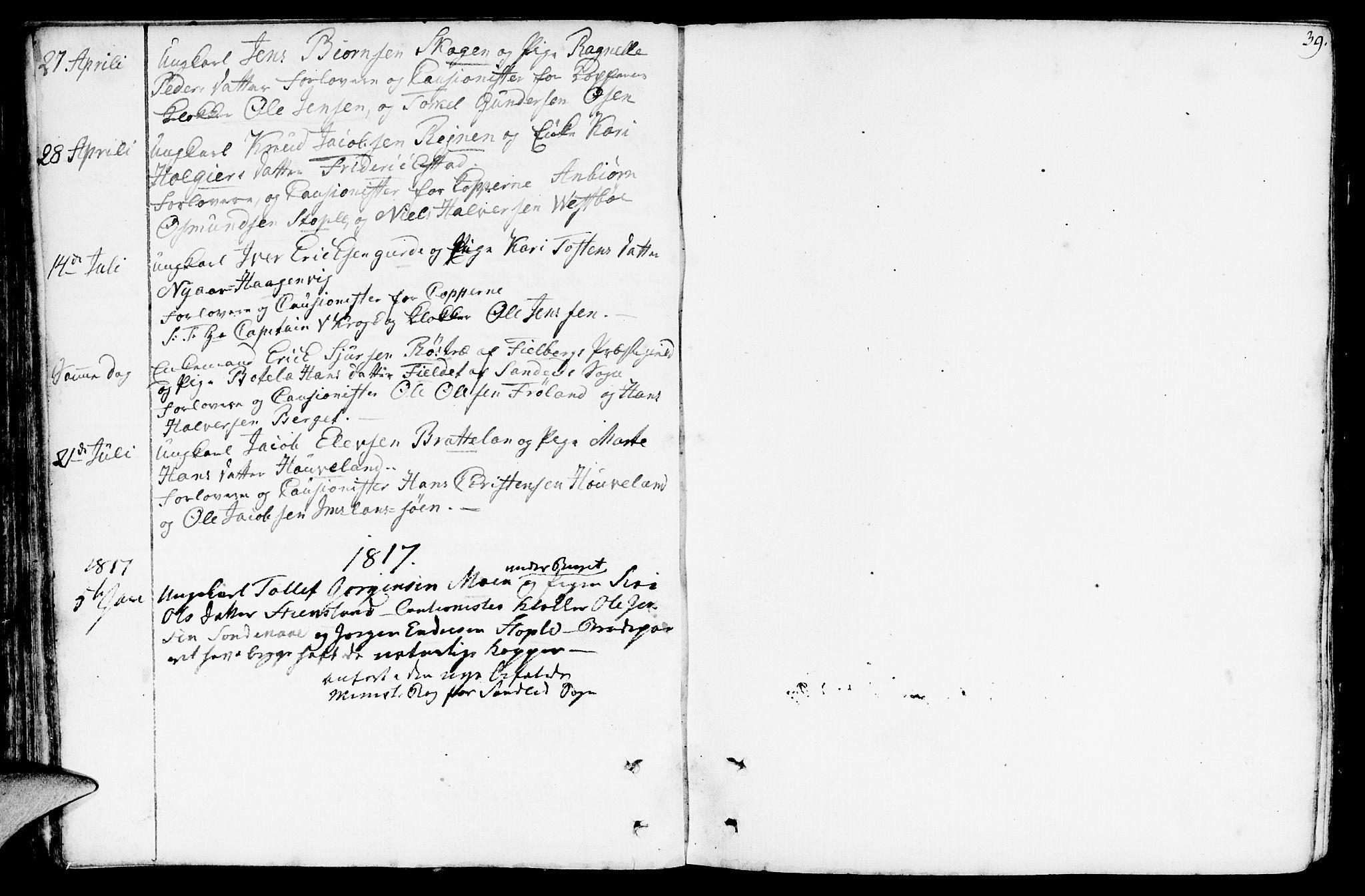 SAST, Vikedal sokneprestkontor, IV: Ministerialbok nr. A 2, 1779-1817, s. 39