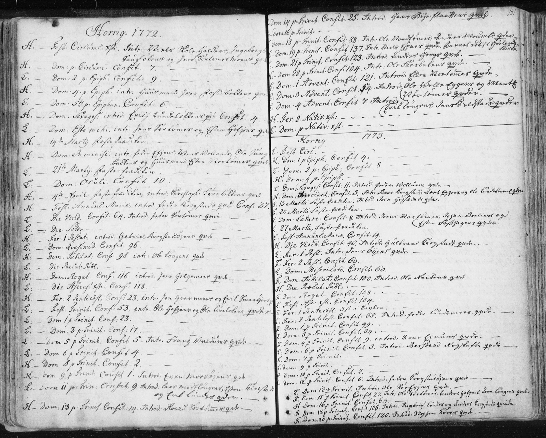 SAT, Ministerialprotokoller, klokkerbøker og fødselsregistre - Sør-Trøndelag, 687/L0991: Ministerialbok nr. 687A02, 1747-1790, s. 151