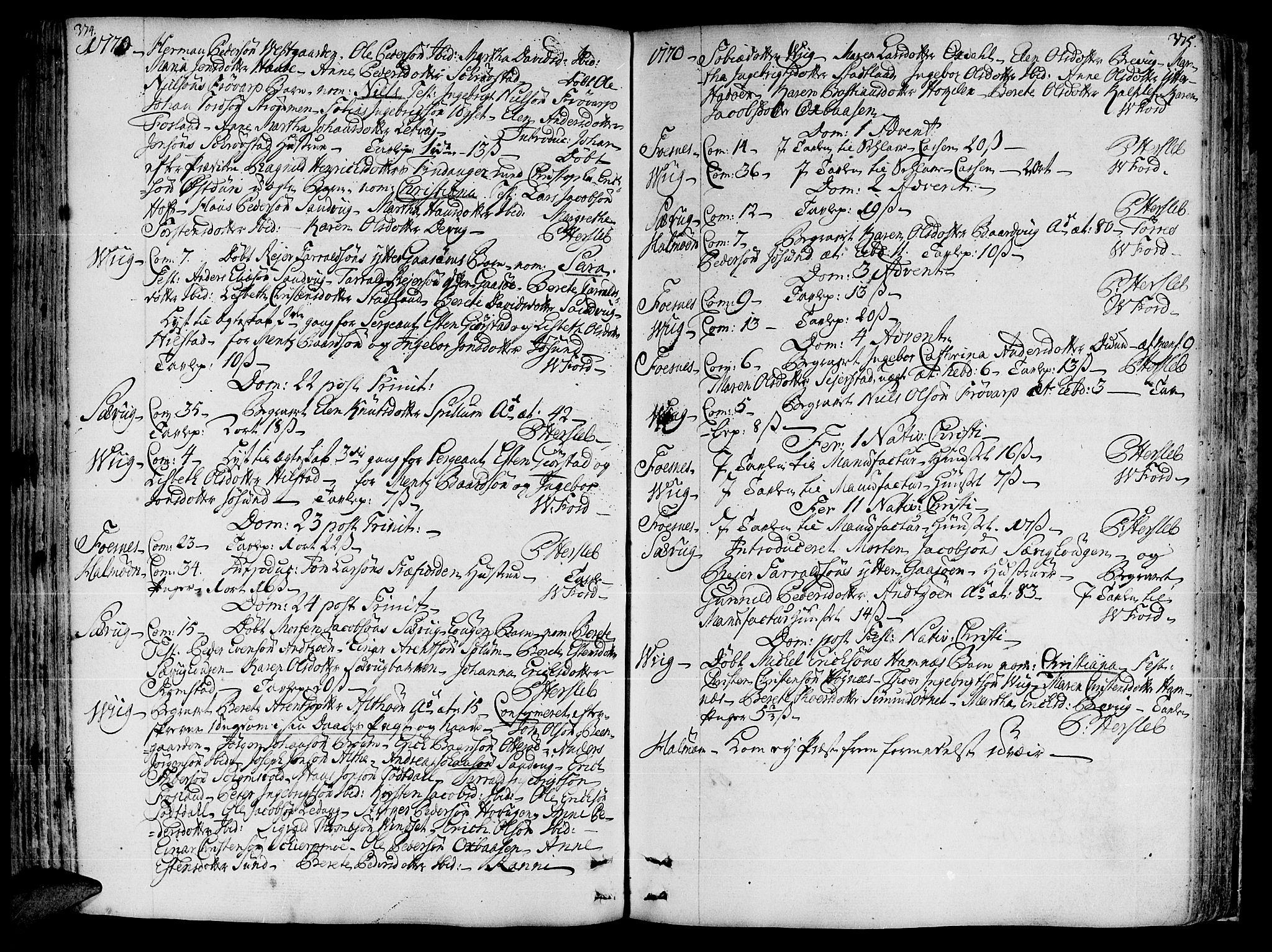 SAT, Ministerialprotokoller, klokkerbøker og fødselsregistre - Nord-Trøndelag, 773/L0607: Ministerialbok nr. 773A01, 1751-1783, s. 374-375