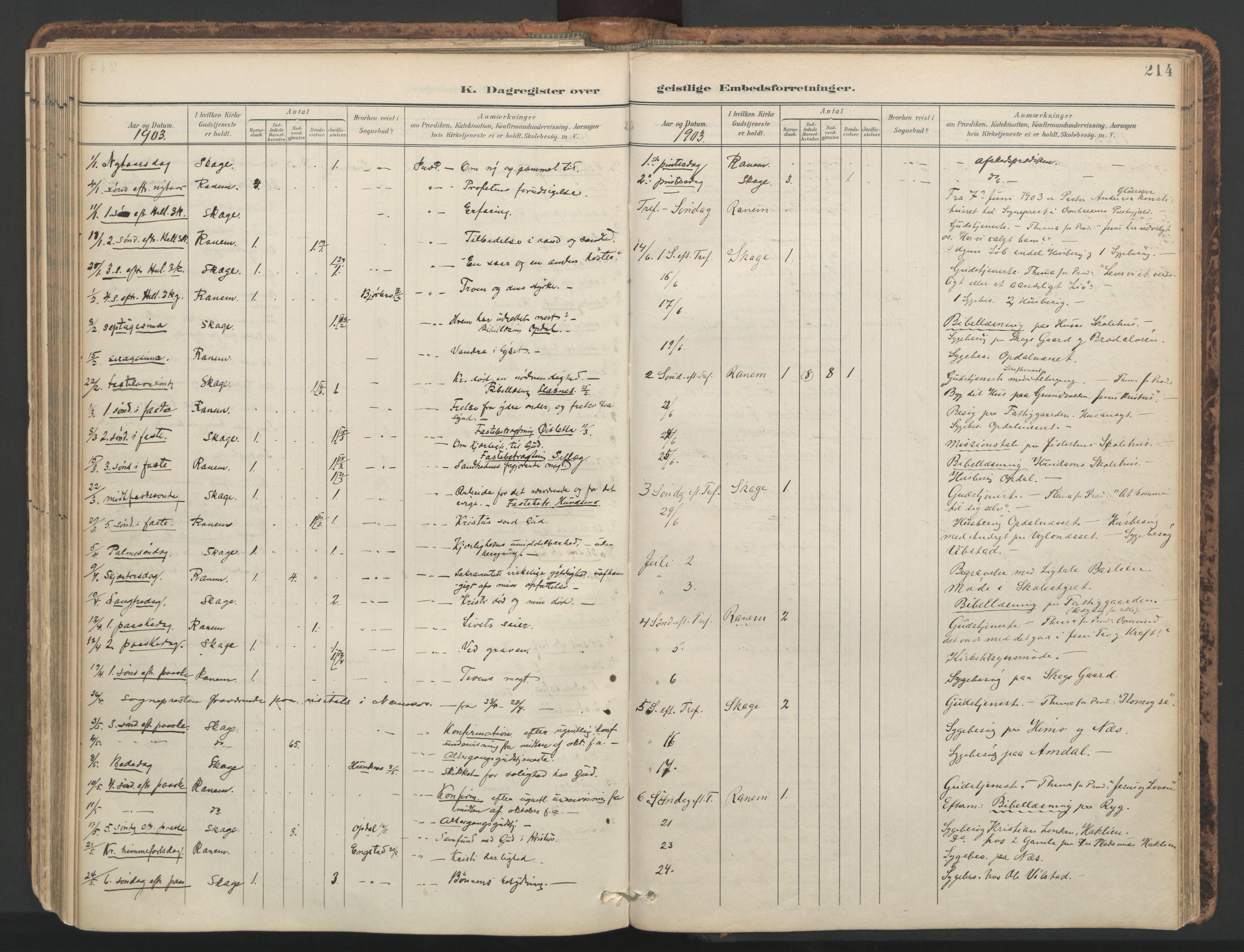 SAT, Ministerialprotokoller, klokkerbøker og fødselsregistre - Nord-Trøndelag, 764/L0556: Ministerialbok nr. 764A11, 1897-1924, s. 214
