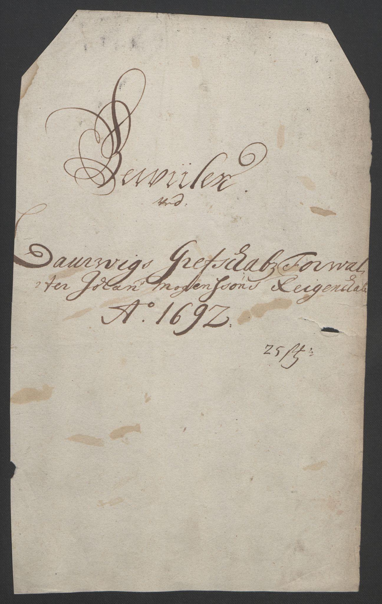 RA, Rentekammeret inntil 1814, Reviderte regnskaper, Fogderegnskap, R33/L1973: Fogderegnskap Larvik grevskap, 1692, s. 198