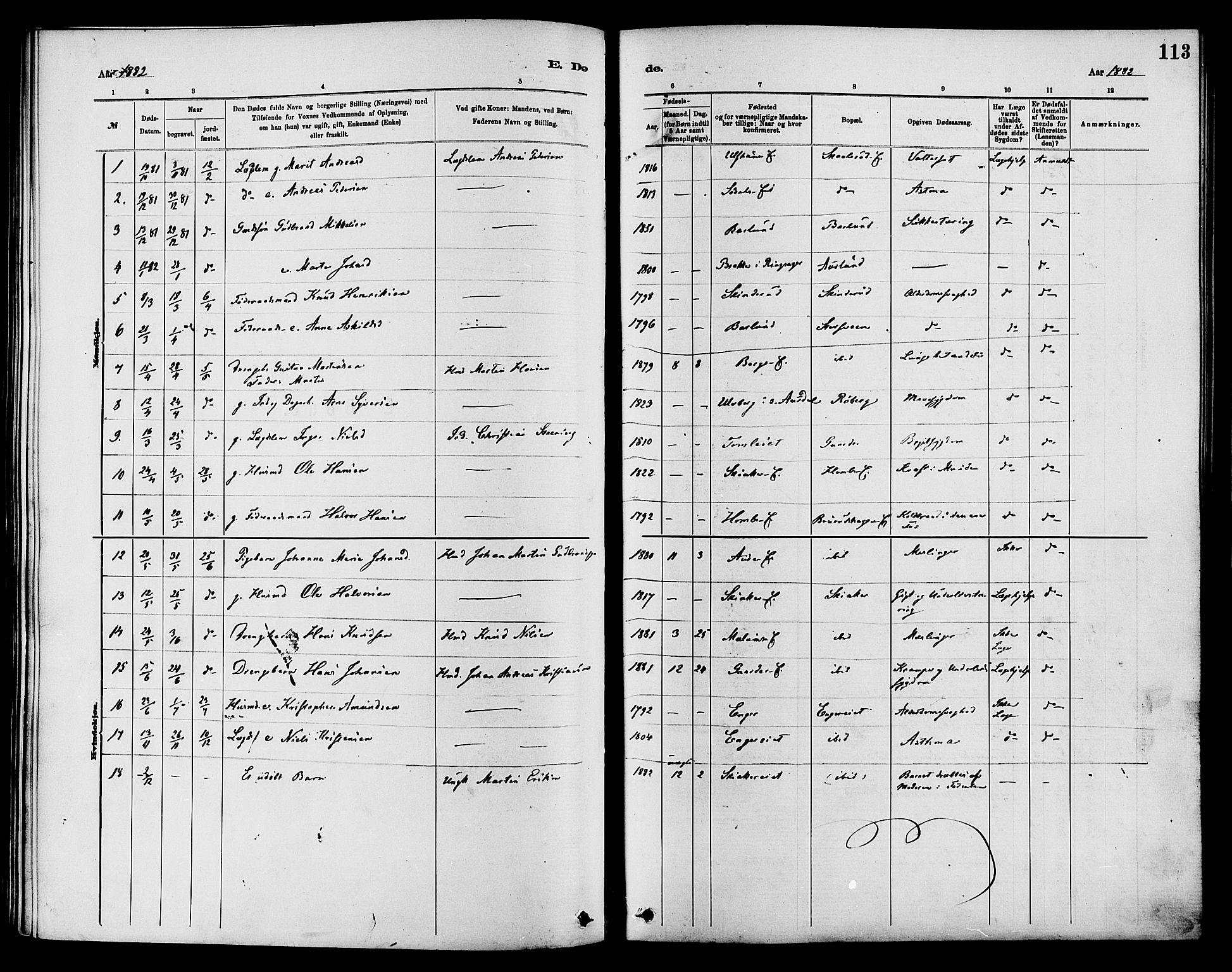SAH, Nordre Land prestekontor, Ministerialbok nr. 3, 1882-1896, s. 113
