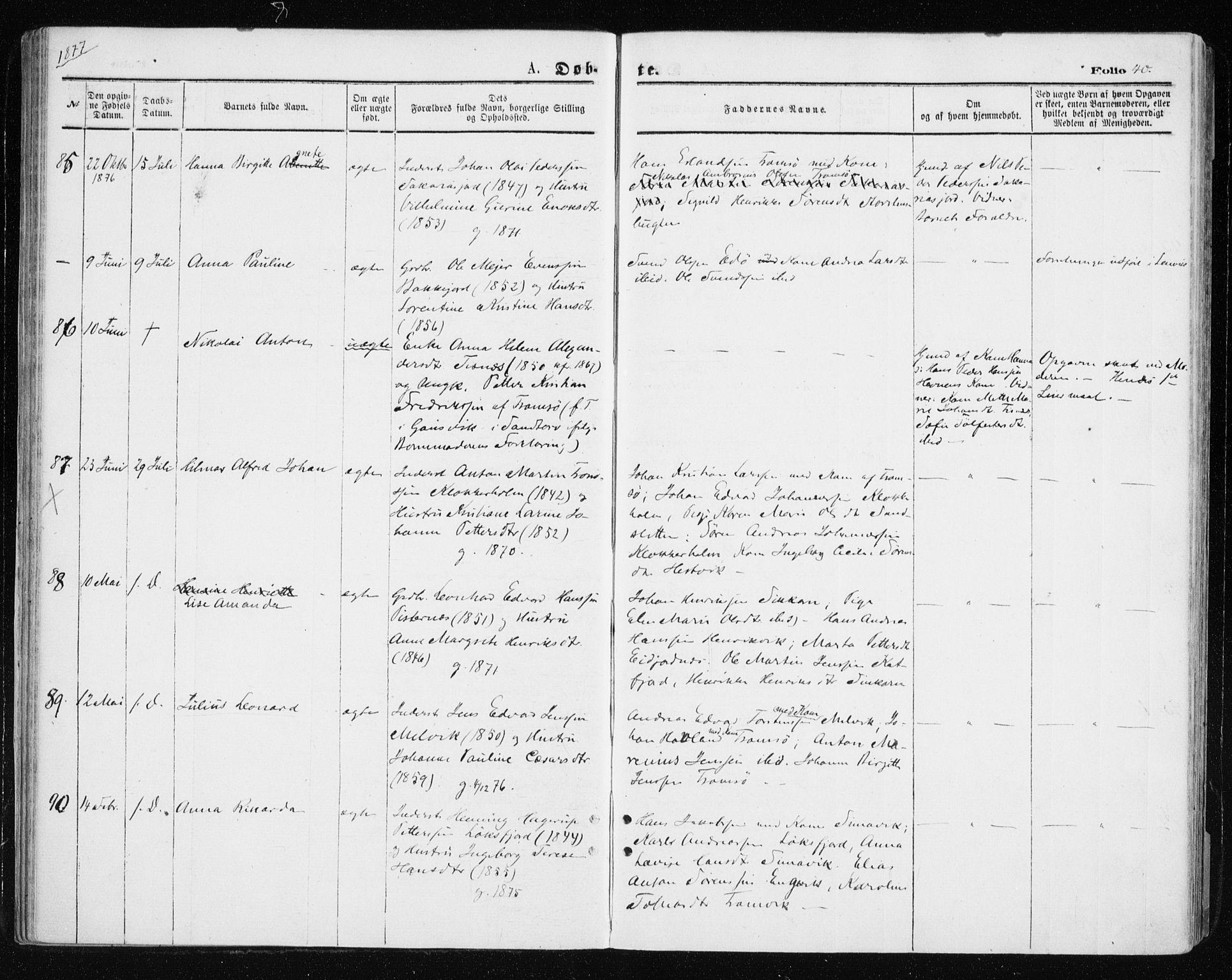 SATØ, Tromsøysund sokneprestkontor, G/Ga/L0003kirke: Ministerialbok nr. 3, 1875-1880, s. 40