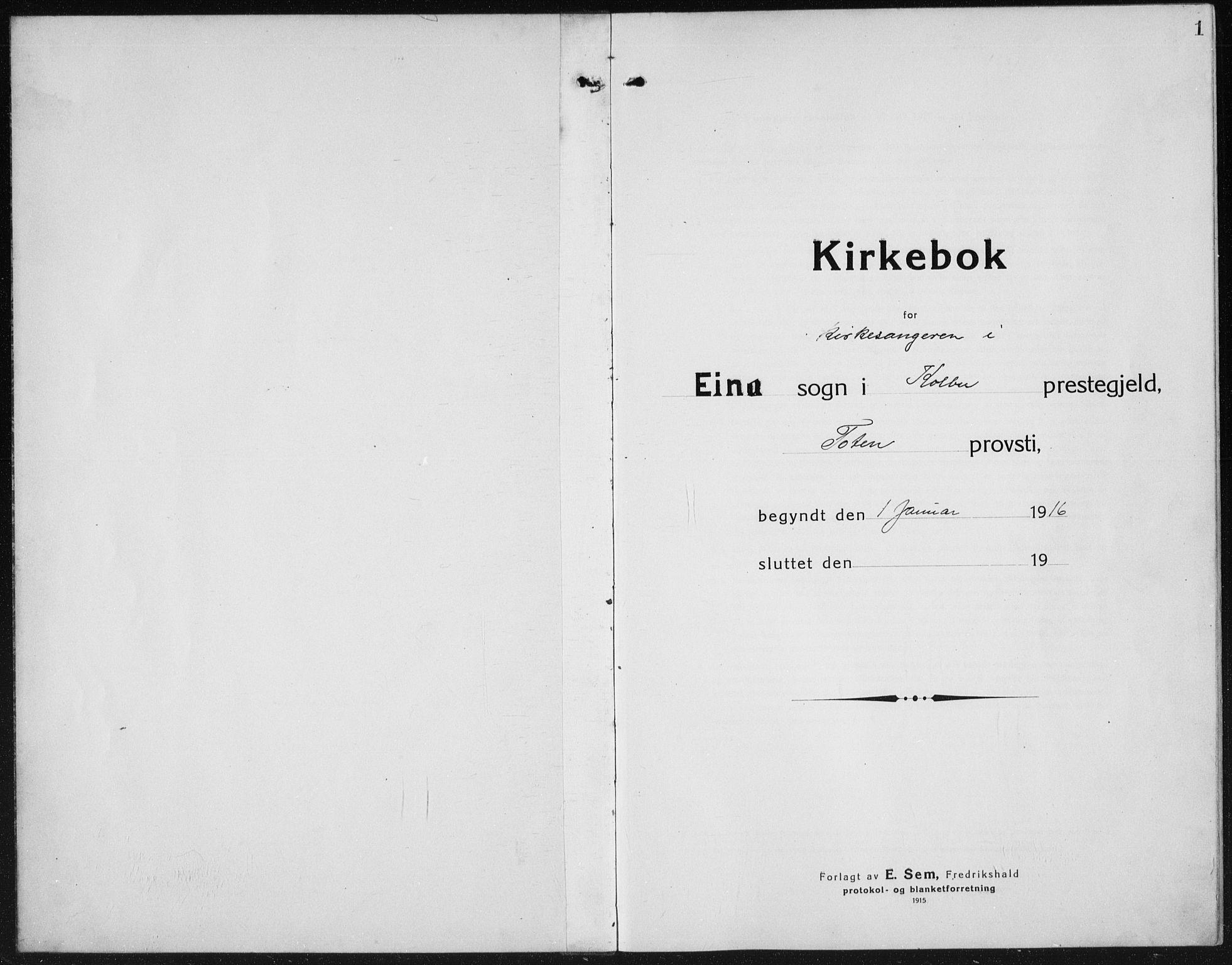 SAH, Kolbu prestekontor, Klokkerbok nr. 6, 1916-1934, s. 1