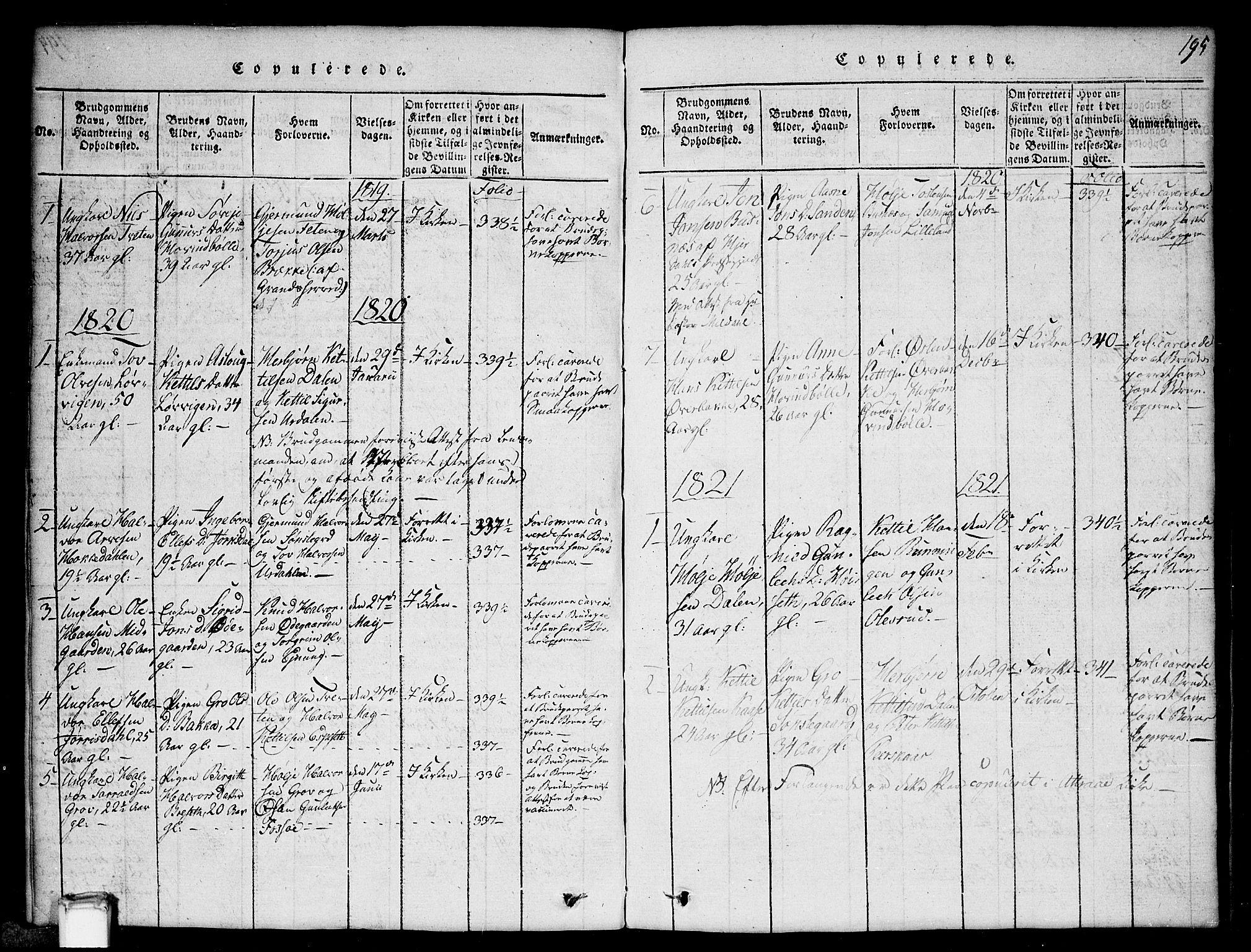 SAKO, Gransherad kirkebøker, G/Gb/L0001: Klokkerbok nr. II 1, 1815-1860, s. 195