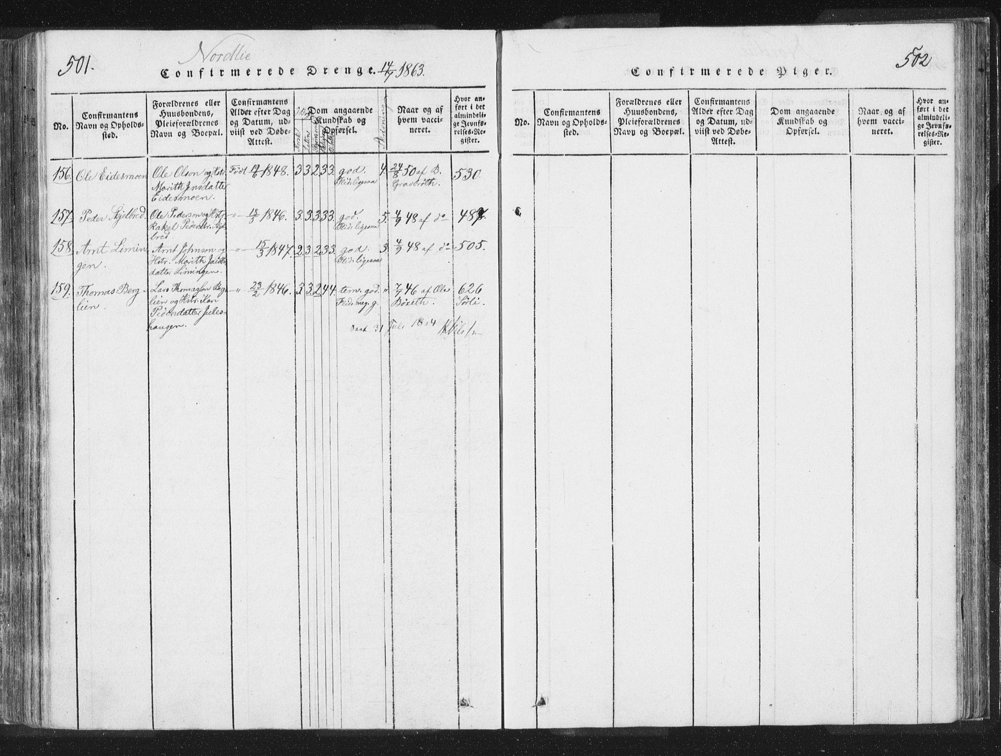 SAT, Ministerialprotokoller, klokkerbøker og fødselsregistre - Nord-Trøndelag, 755/L0491: Ministerialbok nr. 755A01 /1, 1817-1864, s. 501-502