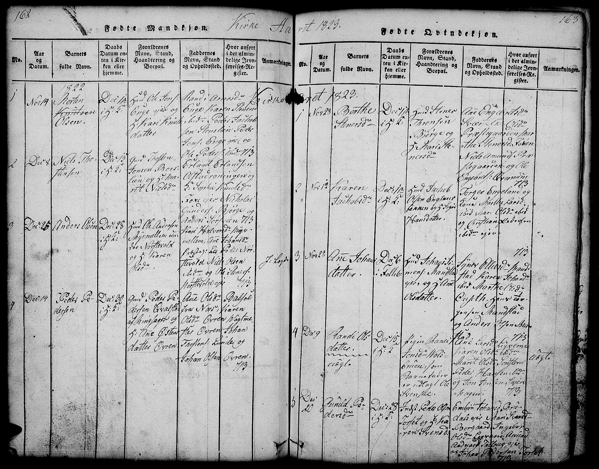 SAH, Gausdal prestekontor, Klokkerbok nr. 1, 1817-1848, s. 162-163