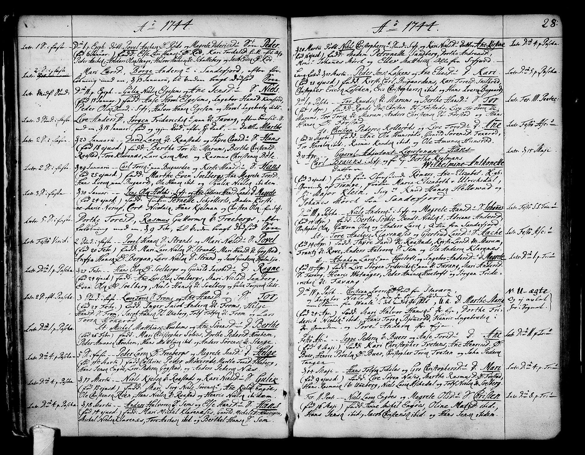 SAKO, Sandar kirkebøker, F/Fa/L0002: Ministerialbok nr. 2, 1733-1788, s. 28