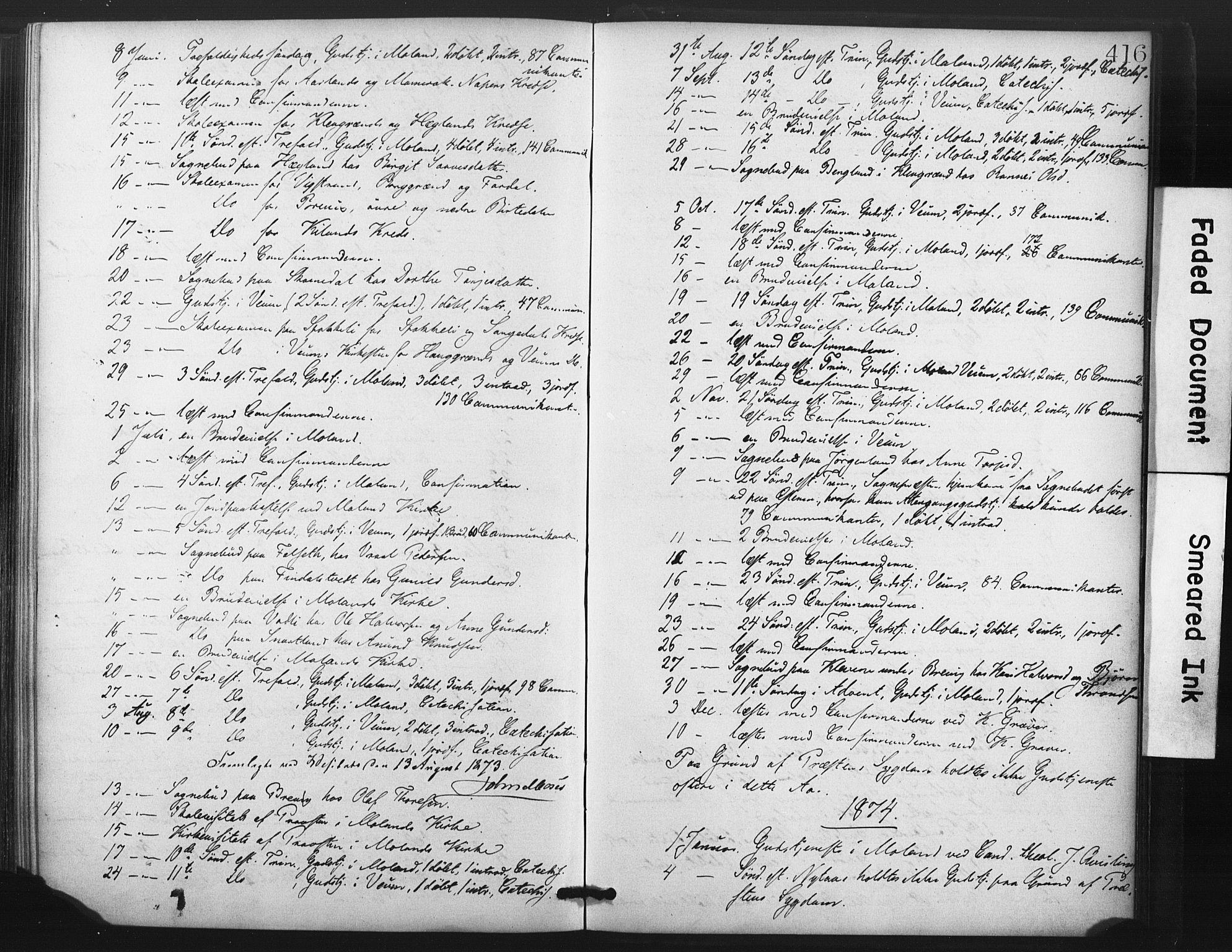SAKO, Fyresdal kirkebøker, F/Fa/L0006: Ministerialbok nr. I 6, 1872-1886, s. 416