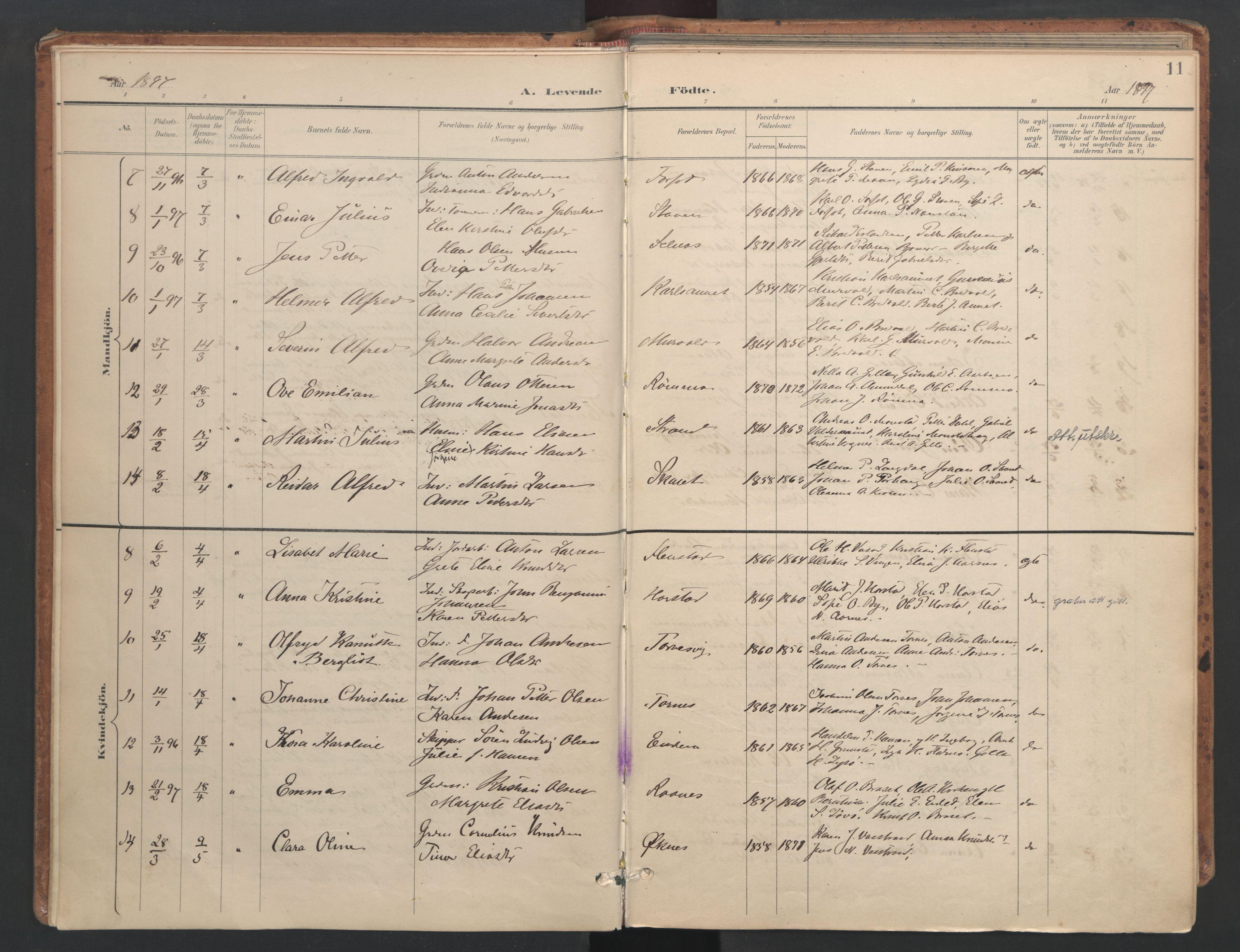 SAT, Ministerialprotokoller, klokkerbøker og fødselsregistre - Sør-Trøndelag, 655/L0681: Ministerialbok nr. 655A10, 1895-1907, s. 11