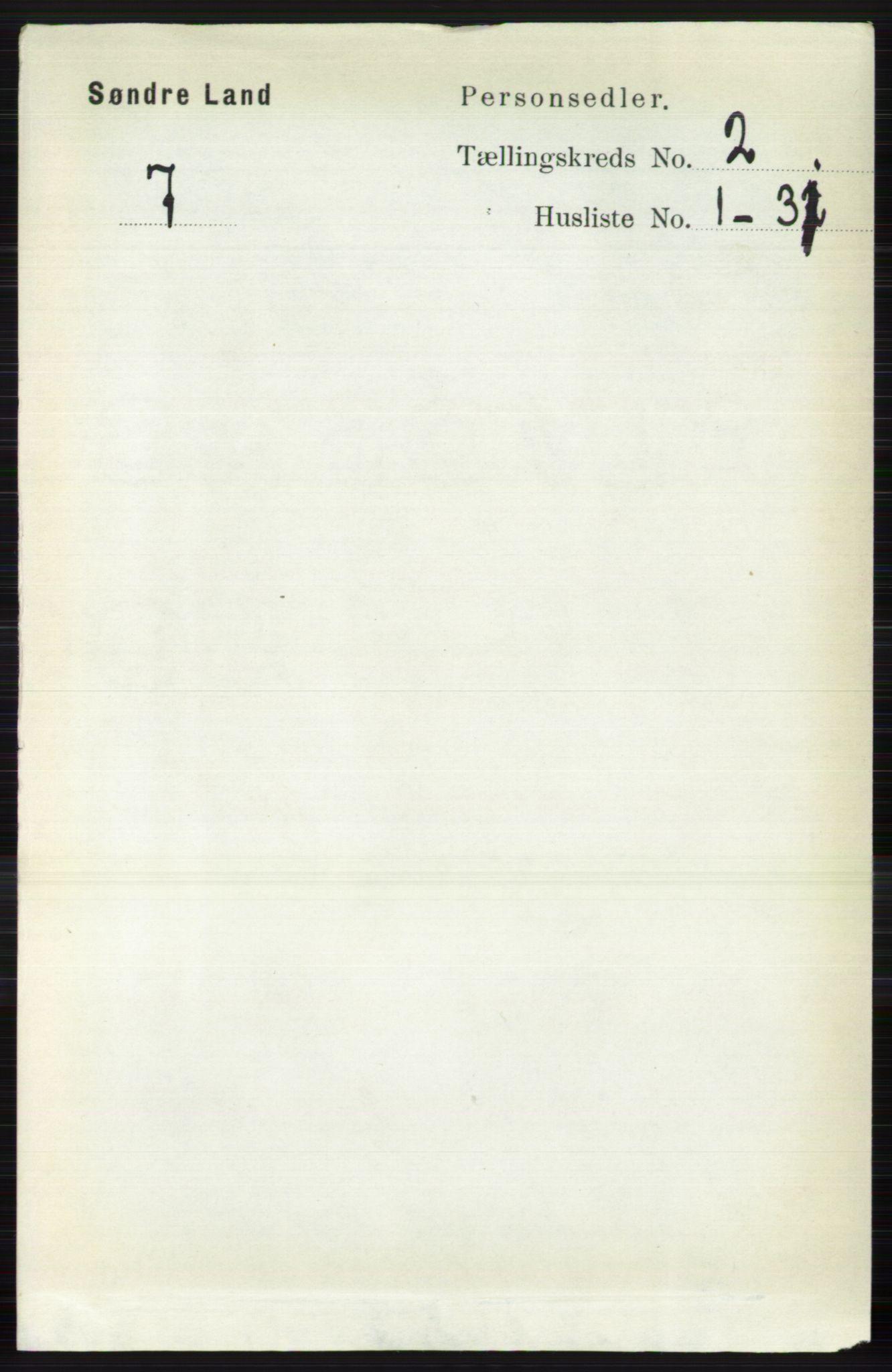 RA, Folketelling 1891 for 0536 Søndre Land herred, 1891, s. 1027