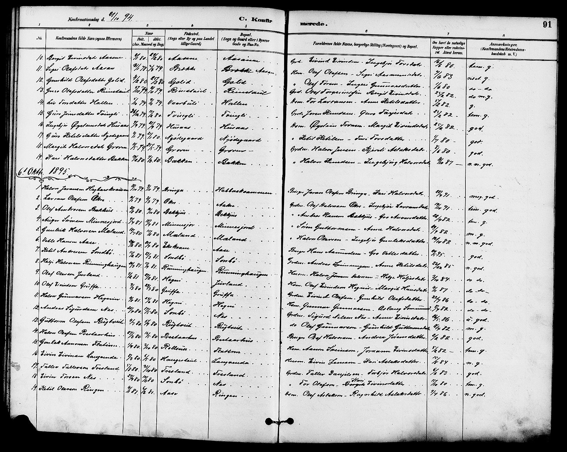 SAKO, Seljord kirkebøker, G/Ga/L0005: Klokkerbok nr. I 5, 1887-1914, s. 91