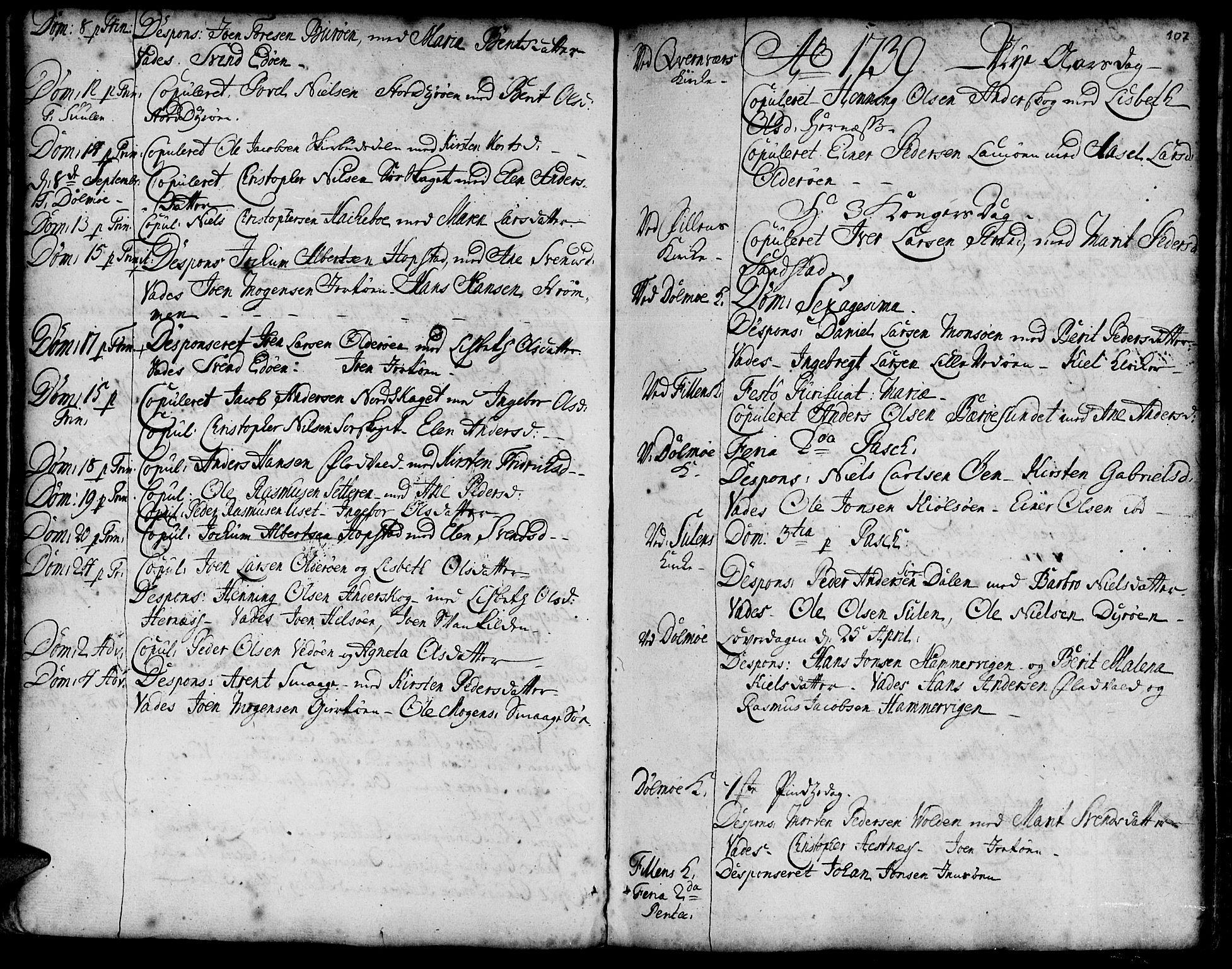 SAT, Ministerialprotokoller, klokkerbøker og fødselsregistre - Sør-Trøndelag, 634/L0525: Ministerialbok nr. 634A01, 1736-1775, s. 107