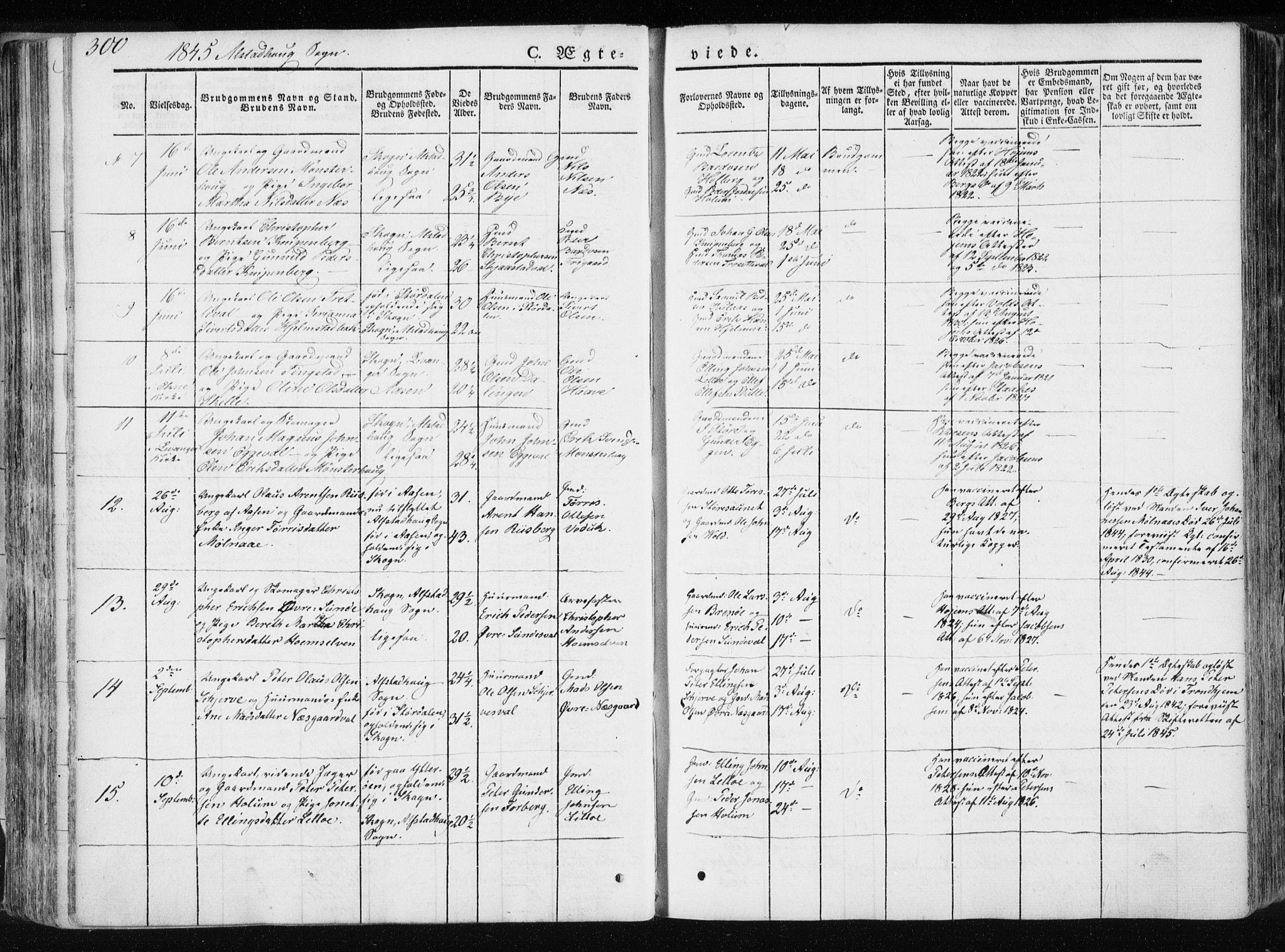 SAT, Ministerialprotokoller, klokkerbøker og fødselsregistre - Nord-Trøndelag, 717/L0154: Ministerialbok nr. 717A06 /1, 1836-1849, s. 300