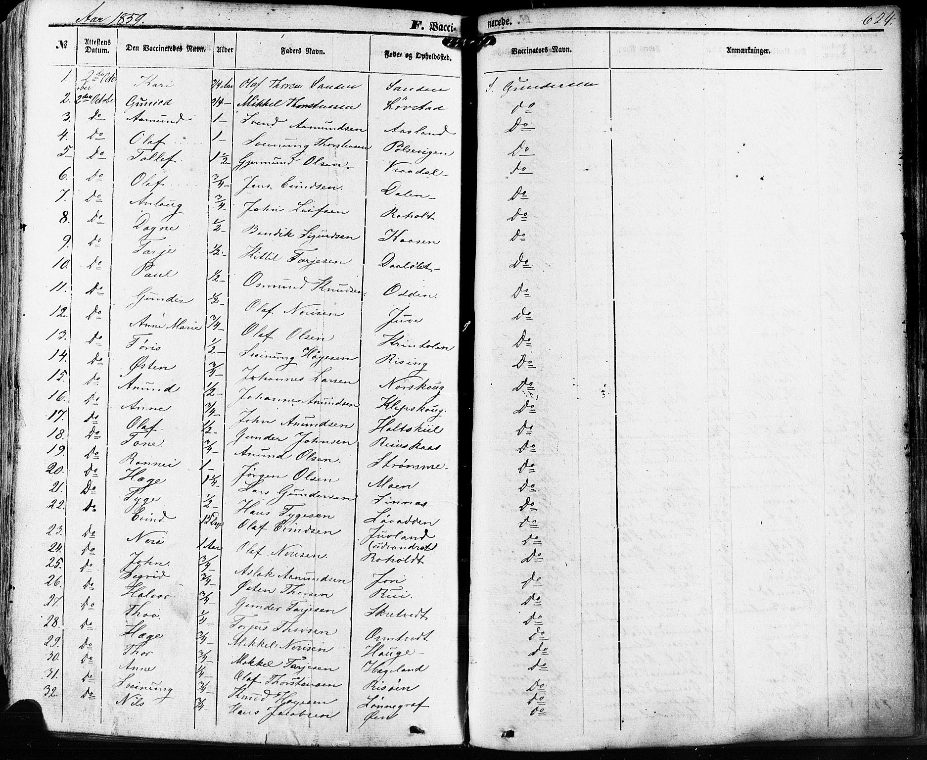 SAKO, Kviteseid kirkebøker, F/Fa/L0007: Ministerialbok nr. I 7, 1859-1881, s. 624