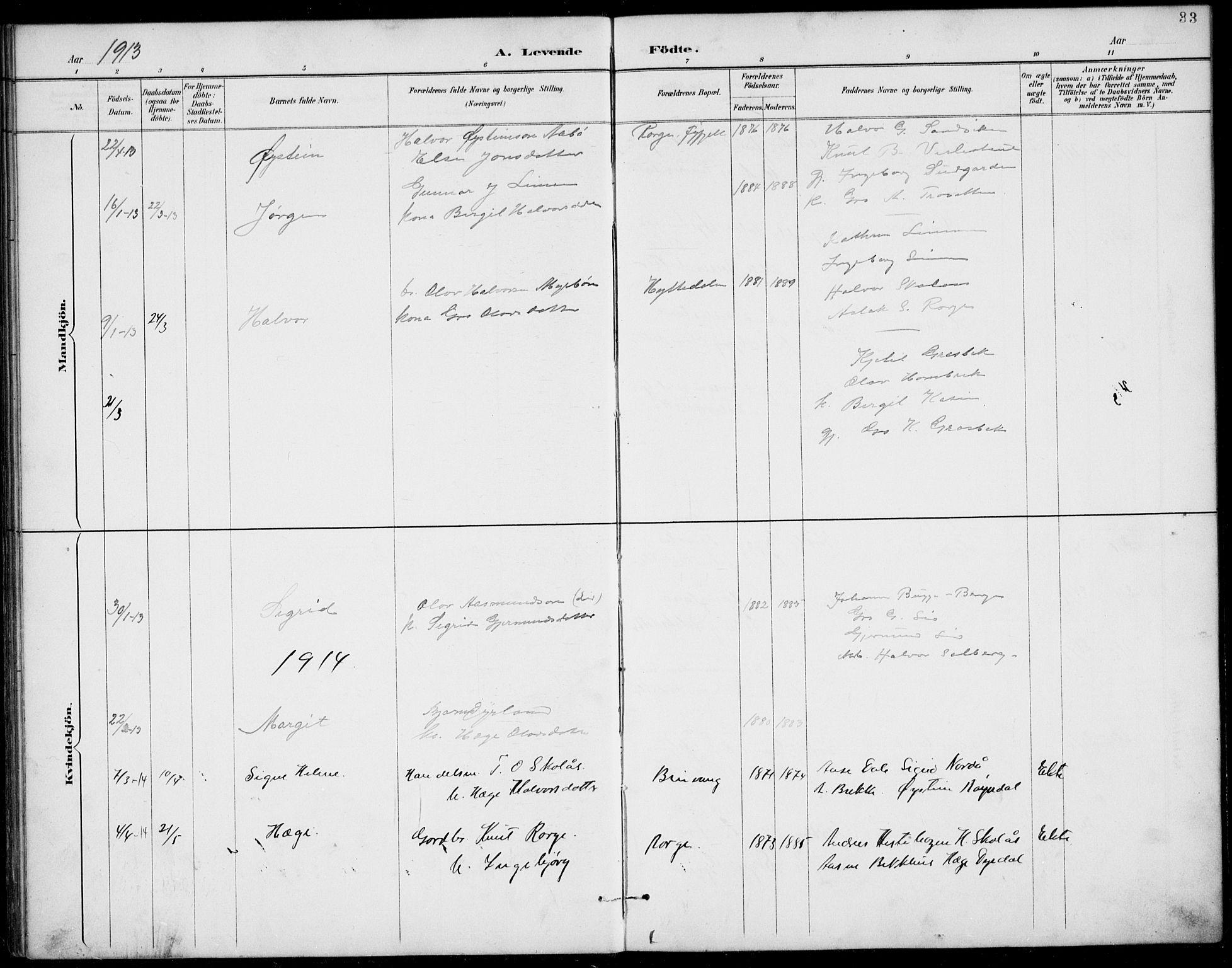 SAKO, Rauland kirkebøker, G/Gb/L0002: Klokkerbok nr. II 2, 1887-1937, s. 33