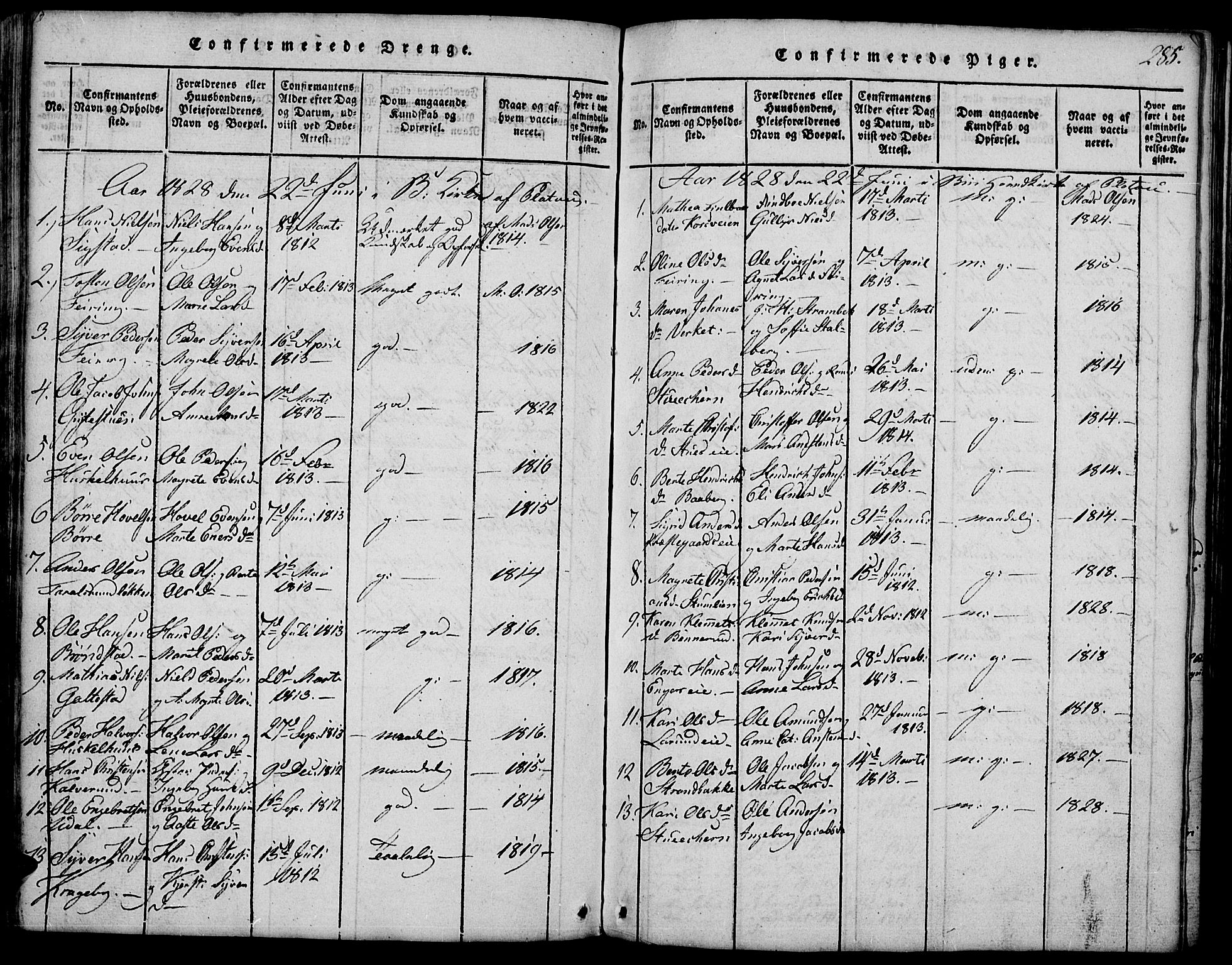 SAH, Biri prestekontor, Klokkerbok nr. 1, 1814-1828, s. 285