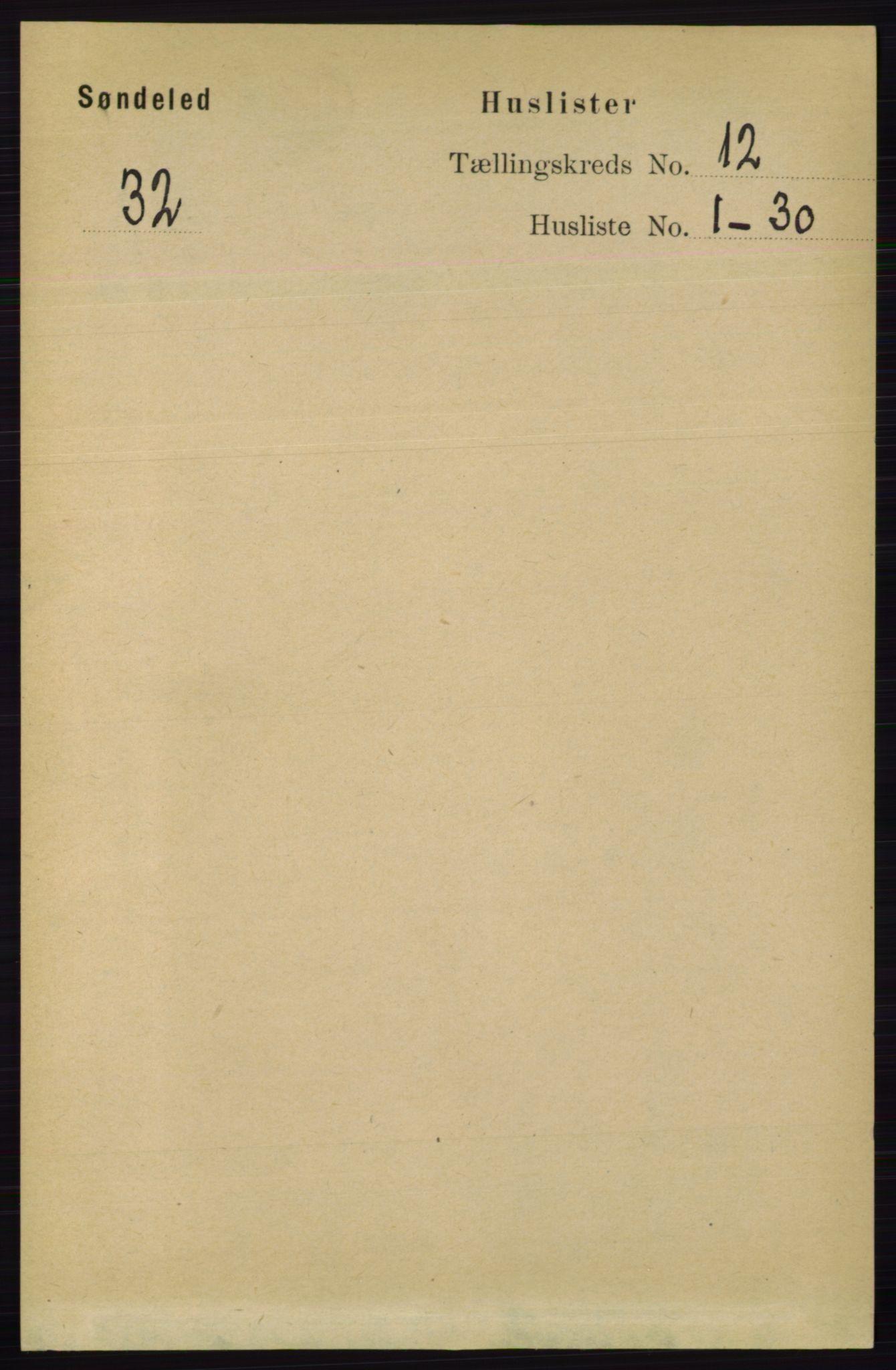 RA, Folketelling 1891 for 0913 Søndeled herred, 1891, s. 3641