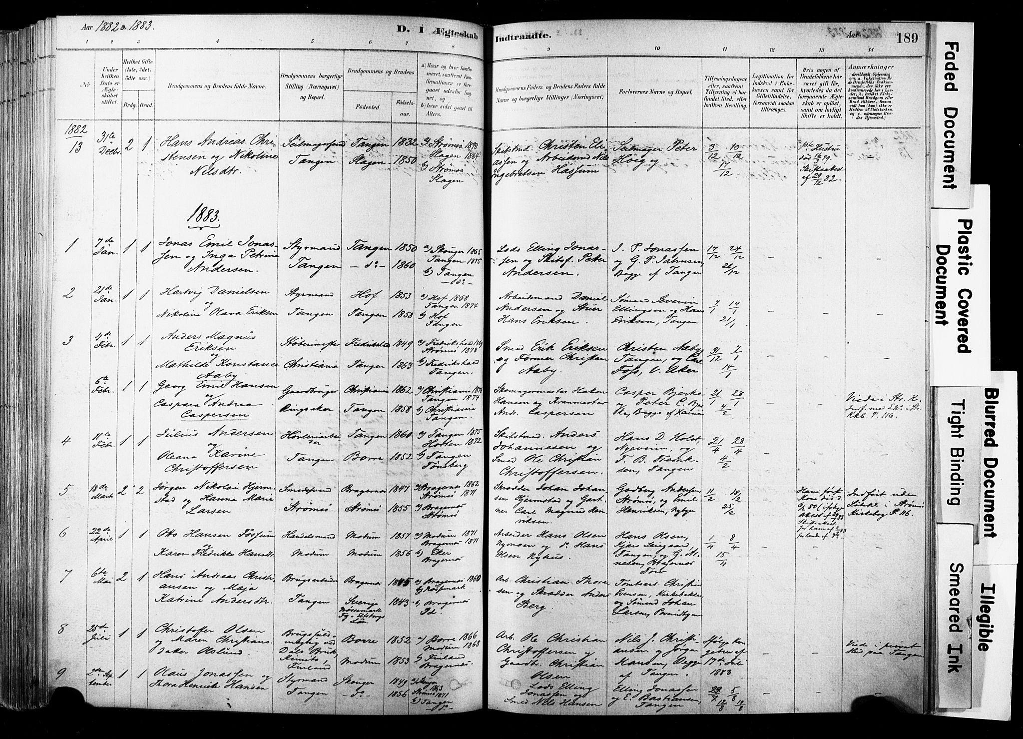SAKO, Strømsø kirkebøker, F/Fb/L0006: Ministerialbok nr. II 6, 1879-1910, s. 189