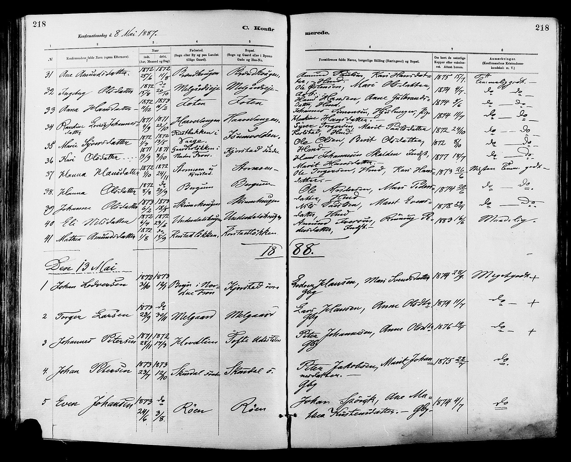 SAH, Sør-Fron prestekontor, H/Ha/Haa/L0003: Ministerialbok nr. 3, 1881-1897, s. 218