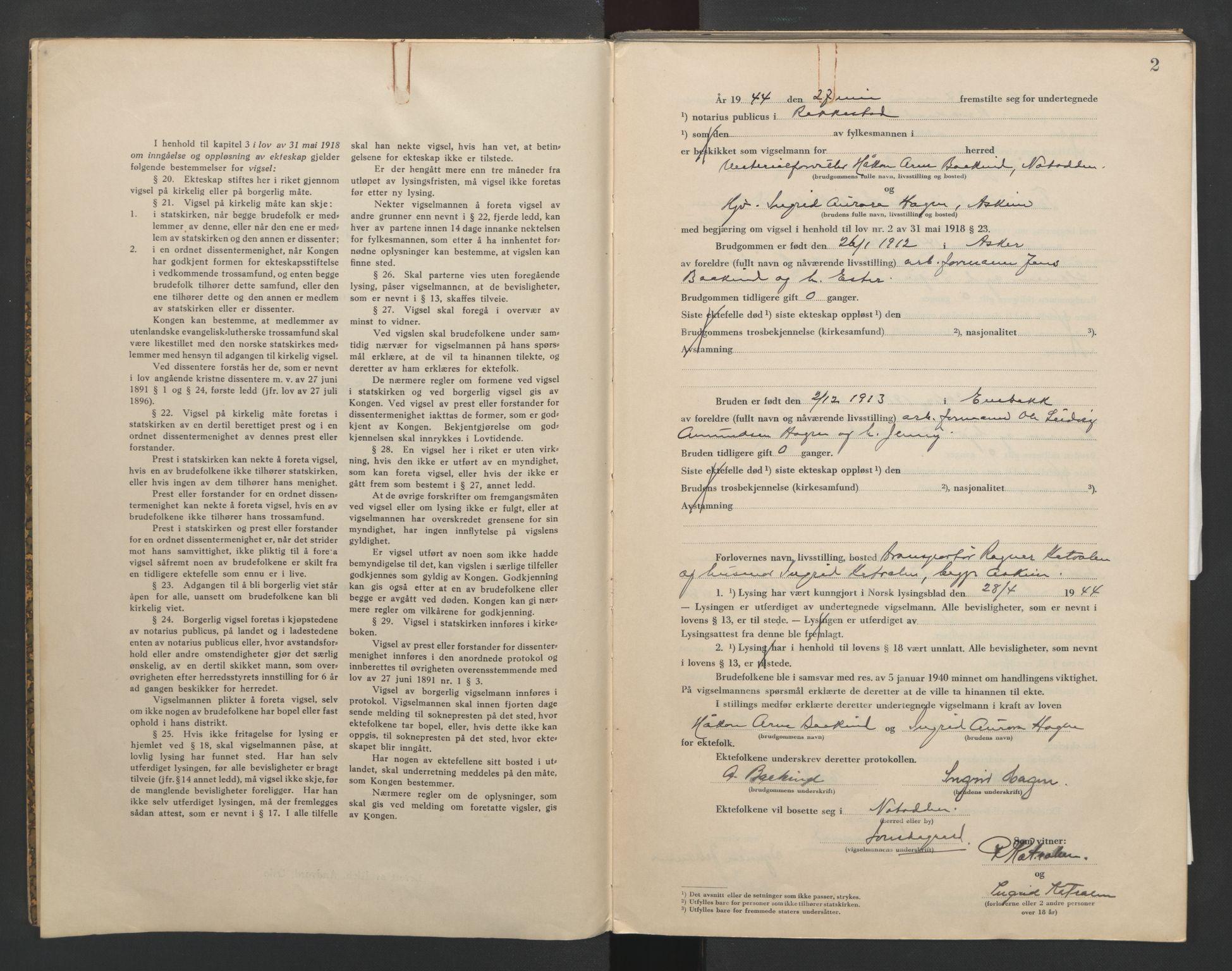 SAO, Rakkestad sorenskriveri, L/Lc/Lca/L0004: Vigselbøker, 1944-1945, s. 2