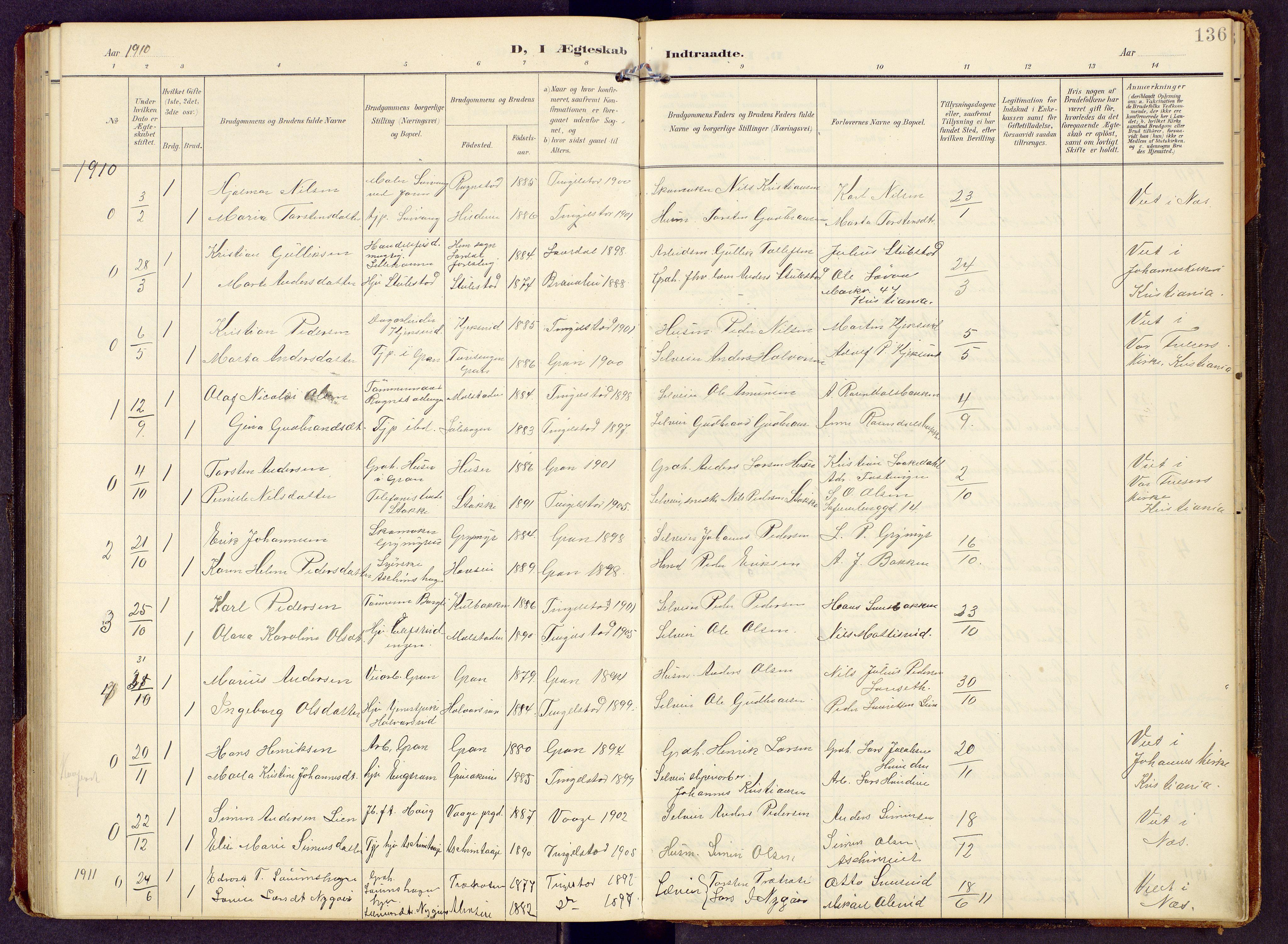 SAH, Brandbu prestekontor, Klokkerbok nr. 9, 1903-1916, s. 136