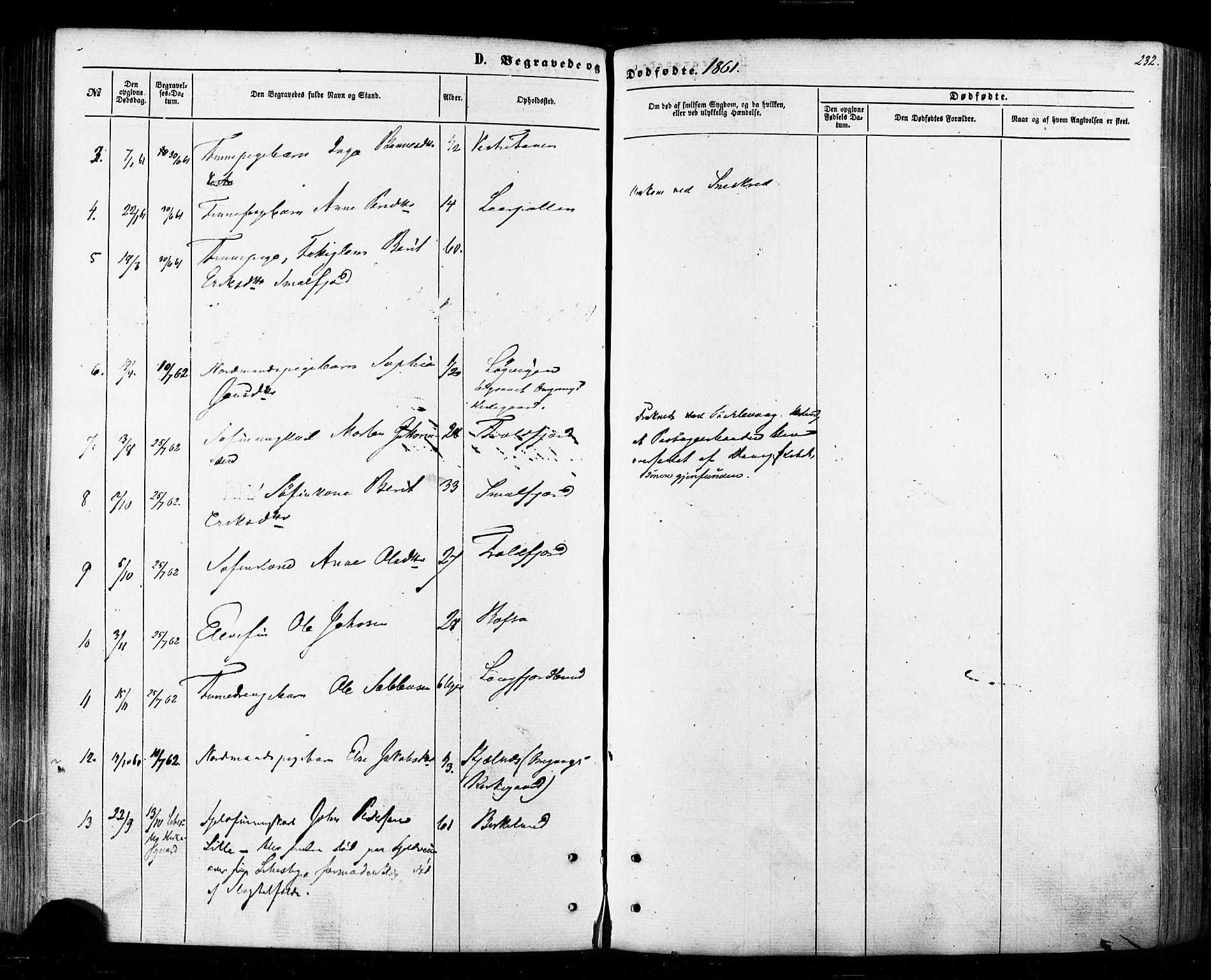 SATØ, Tana sokneprestkontor, H/Ha/L0002kirke: Ministerialbok nr. 2 /1, 1861-1877, s. 232