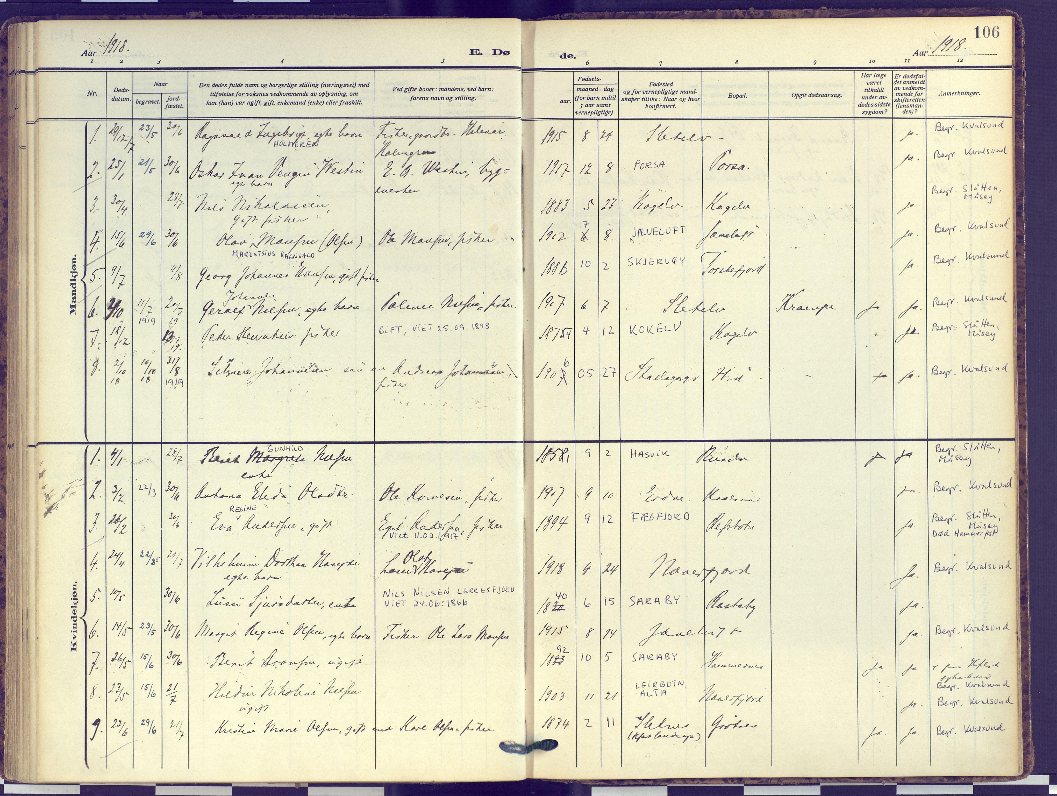 SATØ, Hammerfest sokneprestembete, Ministerialbok nr. 16, 1908-1923, s. 106